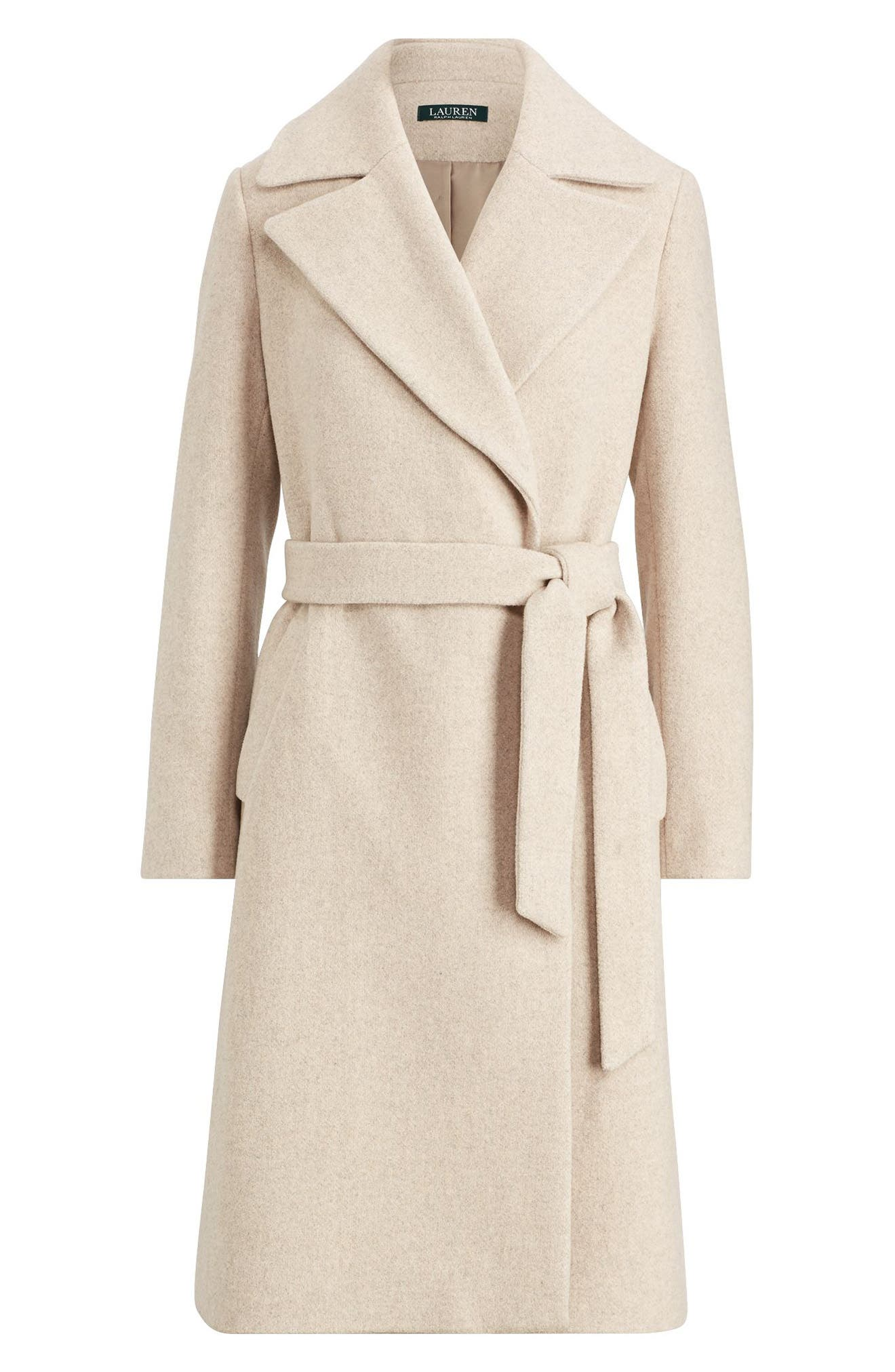 LAUREN RALPH LAUREN,                             Wool Blend Wrap Coat,                             Alternate thumbnail 3, color,                             PLATINUM HEATHER