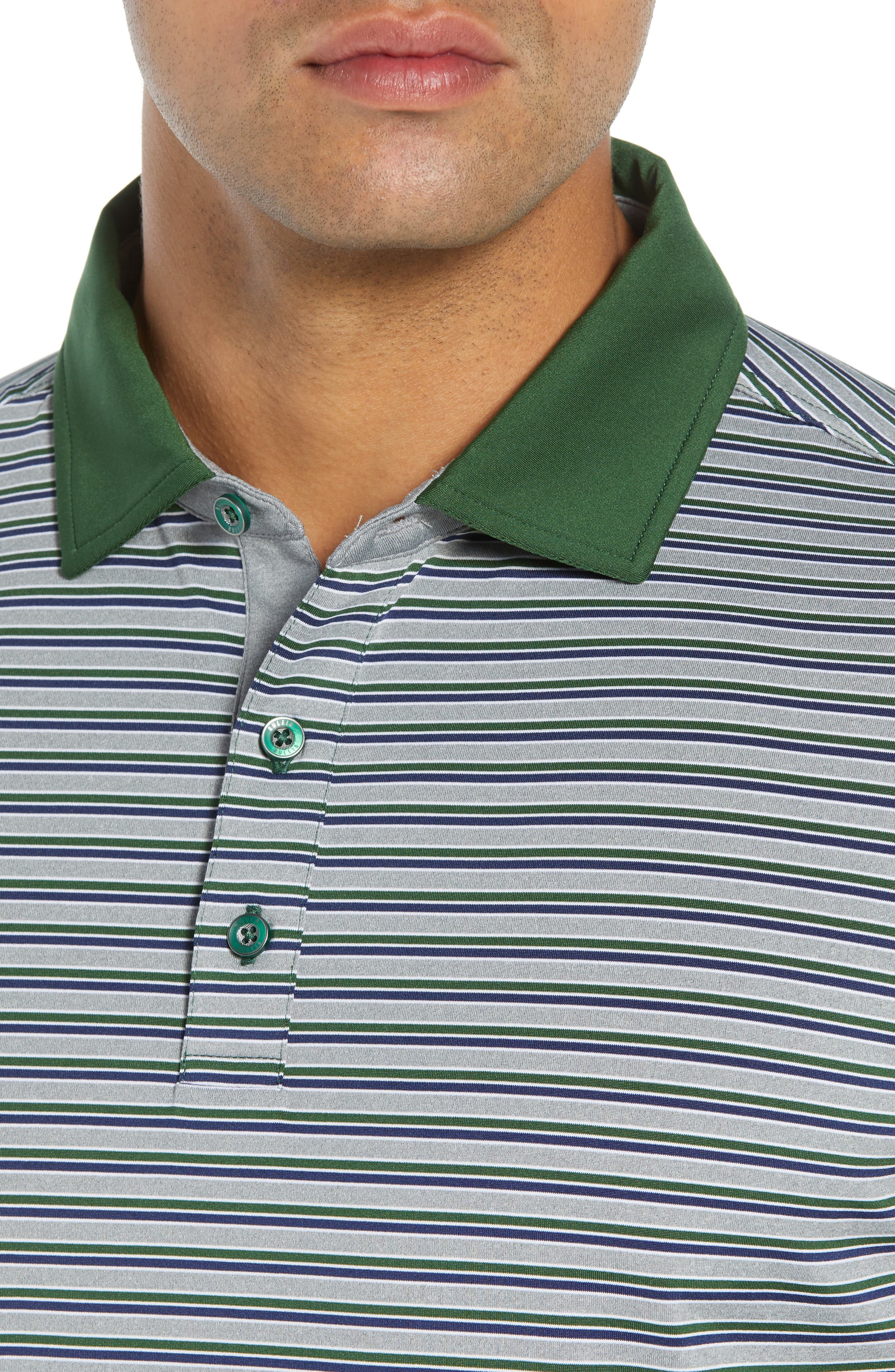 Rule 18 Stripe Tech Jersey Polo,                             Alternate thumbnail 4, color,                             GREEN