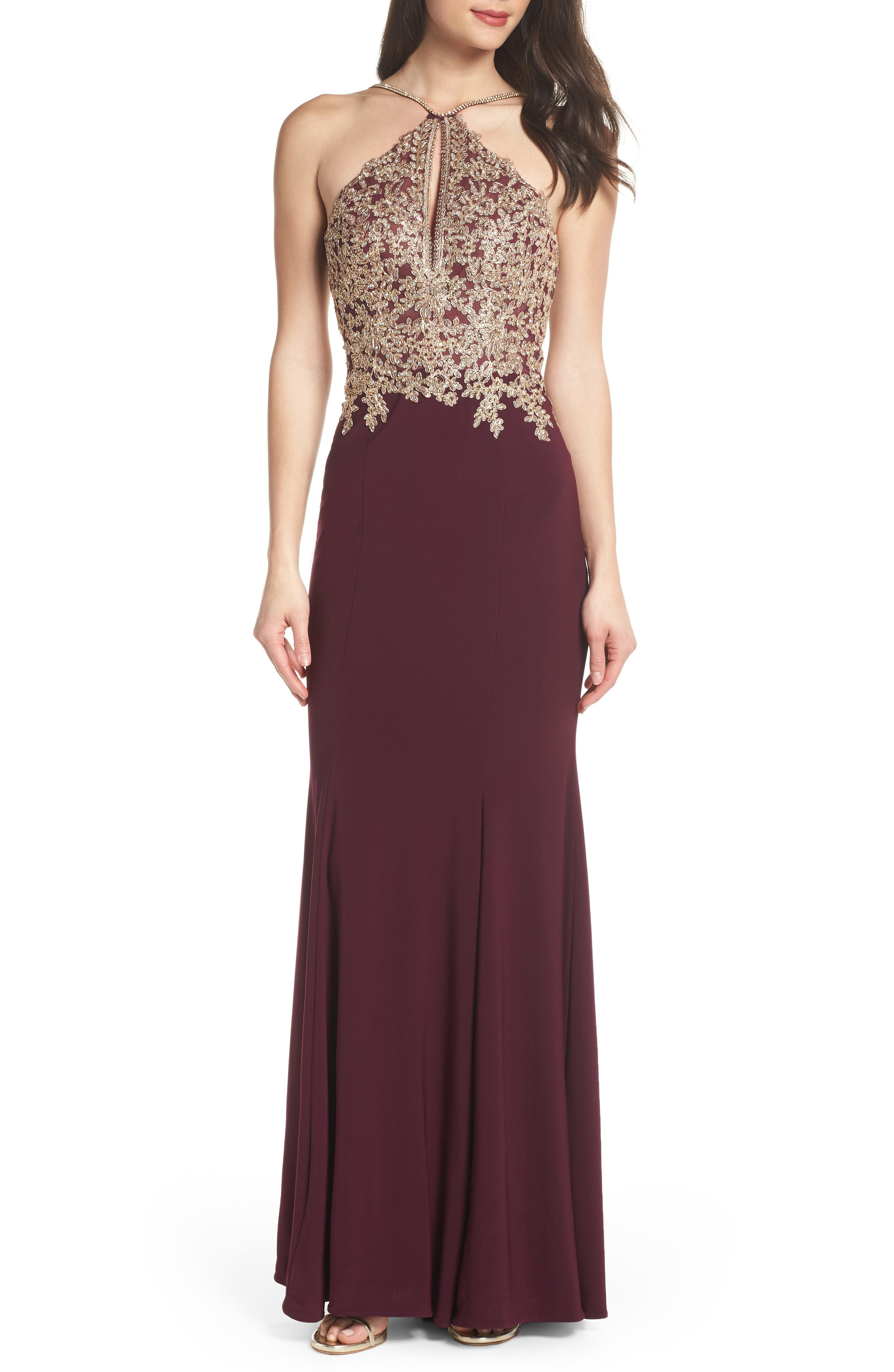 Gold Embroidery Halter Neck Gown,                             Main thumbnail 1, color,                             WINE/ GOLD