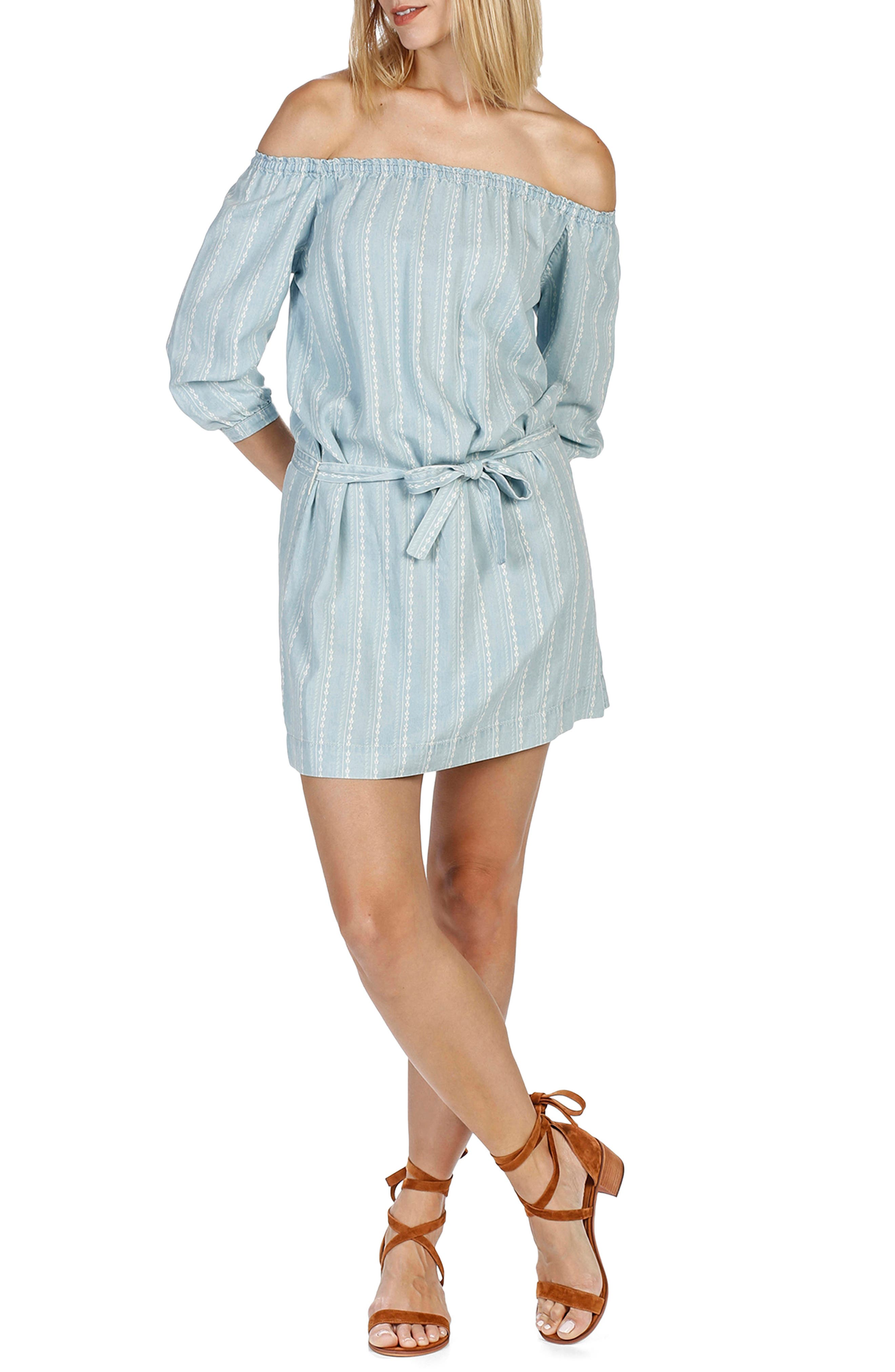 Beatrice Chambray Off the Shoulder Dress,                             Main thumbnail 1, color,                             400