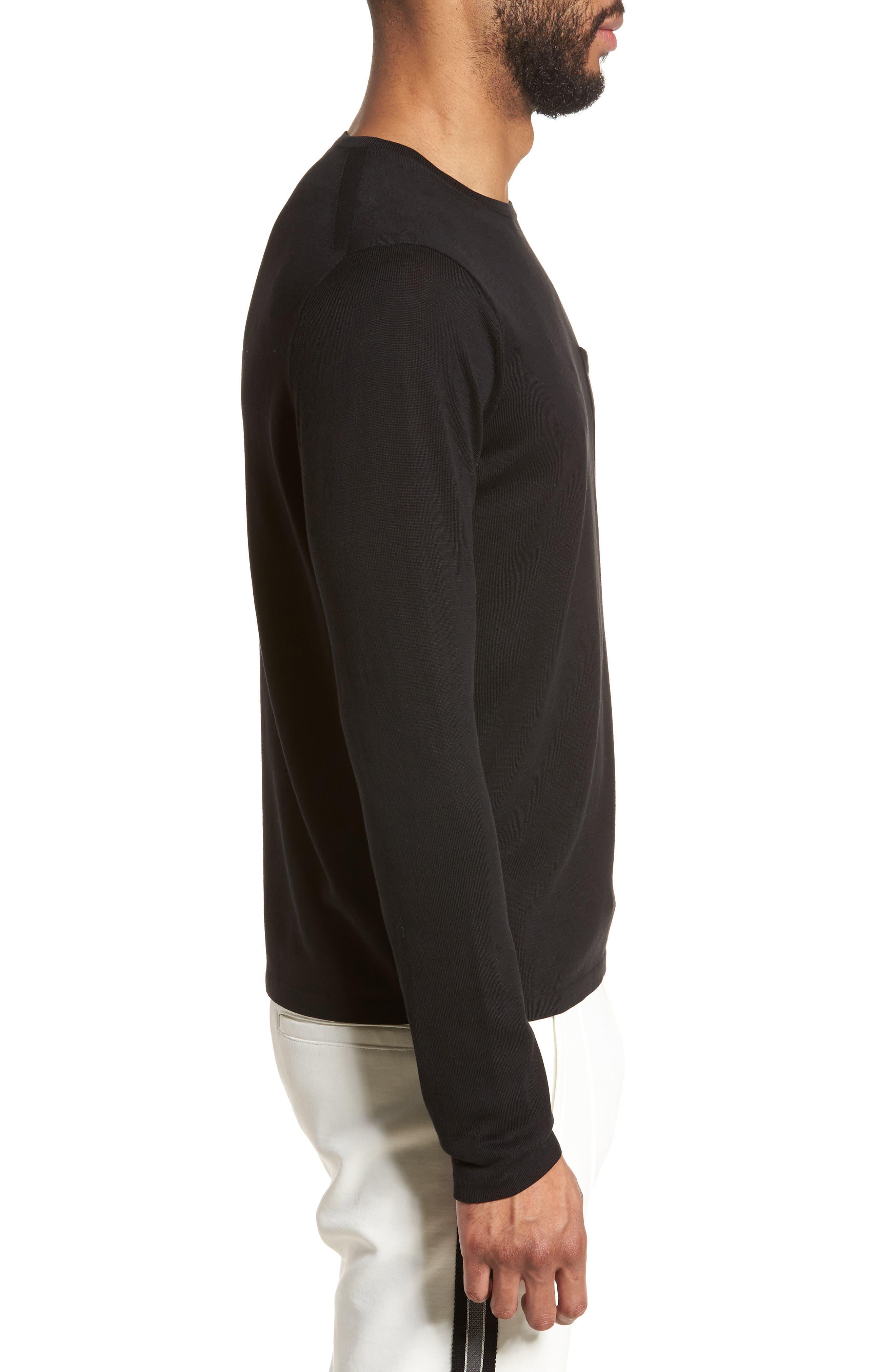 Long Sleeve Pocket T-Shirt,                             Alternate thumbnail 3, color,                             001