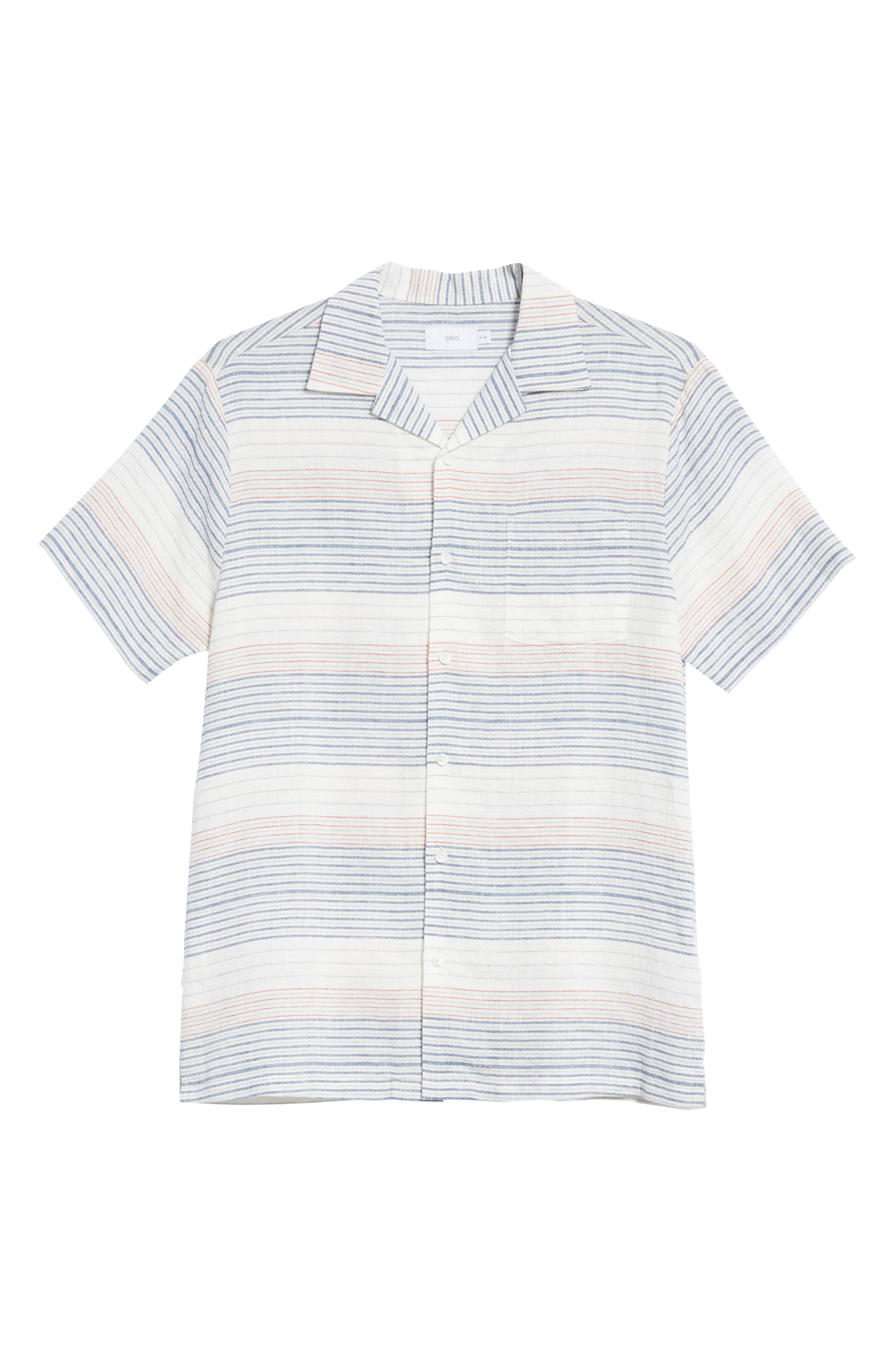 Americana Stripe Woven Camp Shirt,                             Alternate thumbnail 6, color,                             960