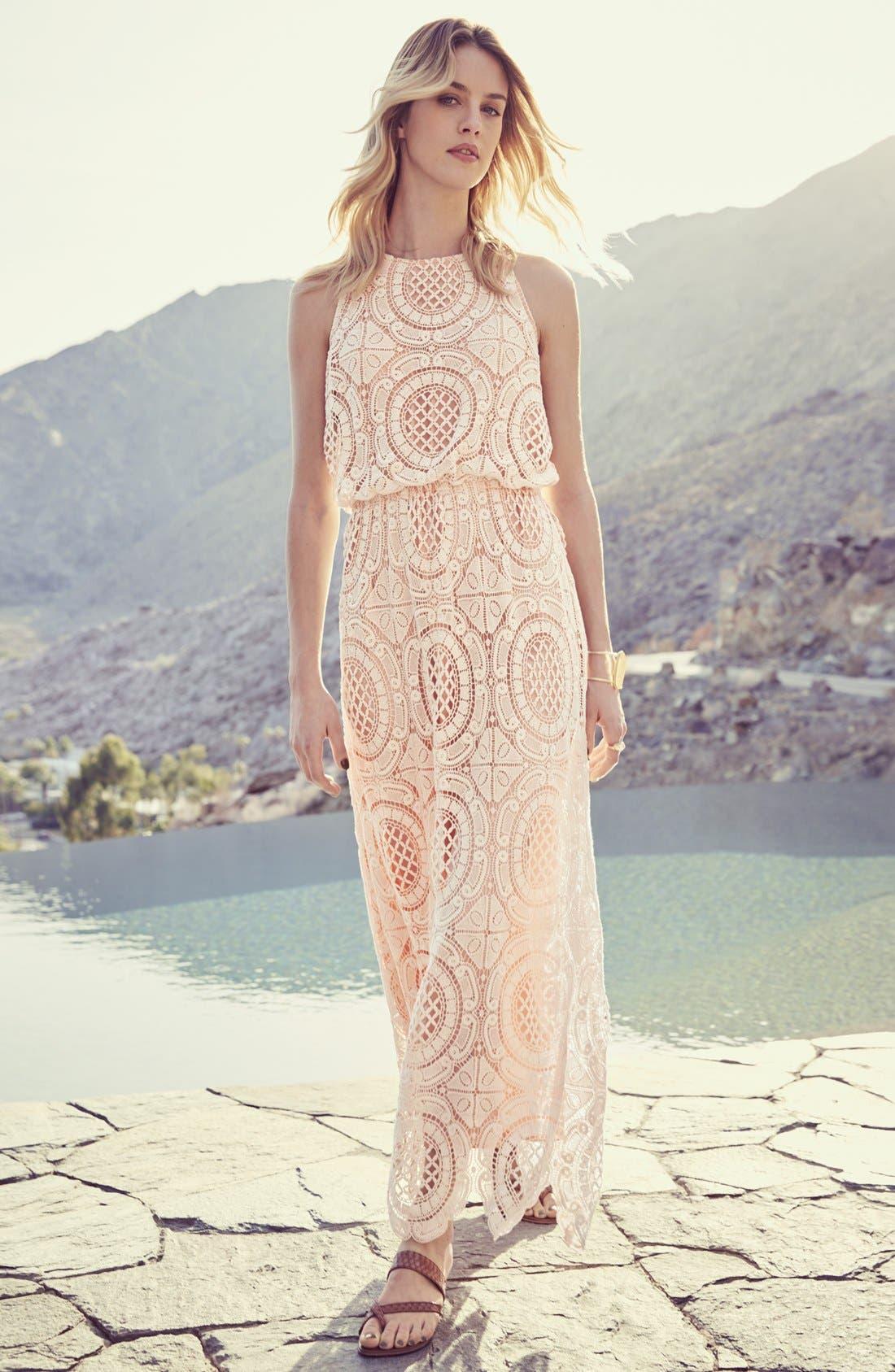 Lace Blouson Maxi Dress,                             Alternate thumbnail 6, color,                             251