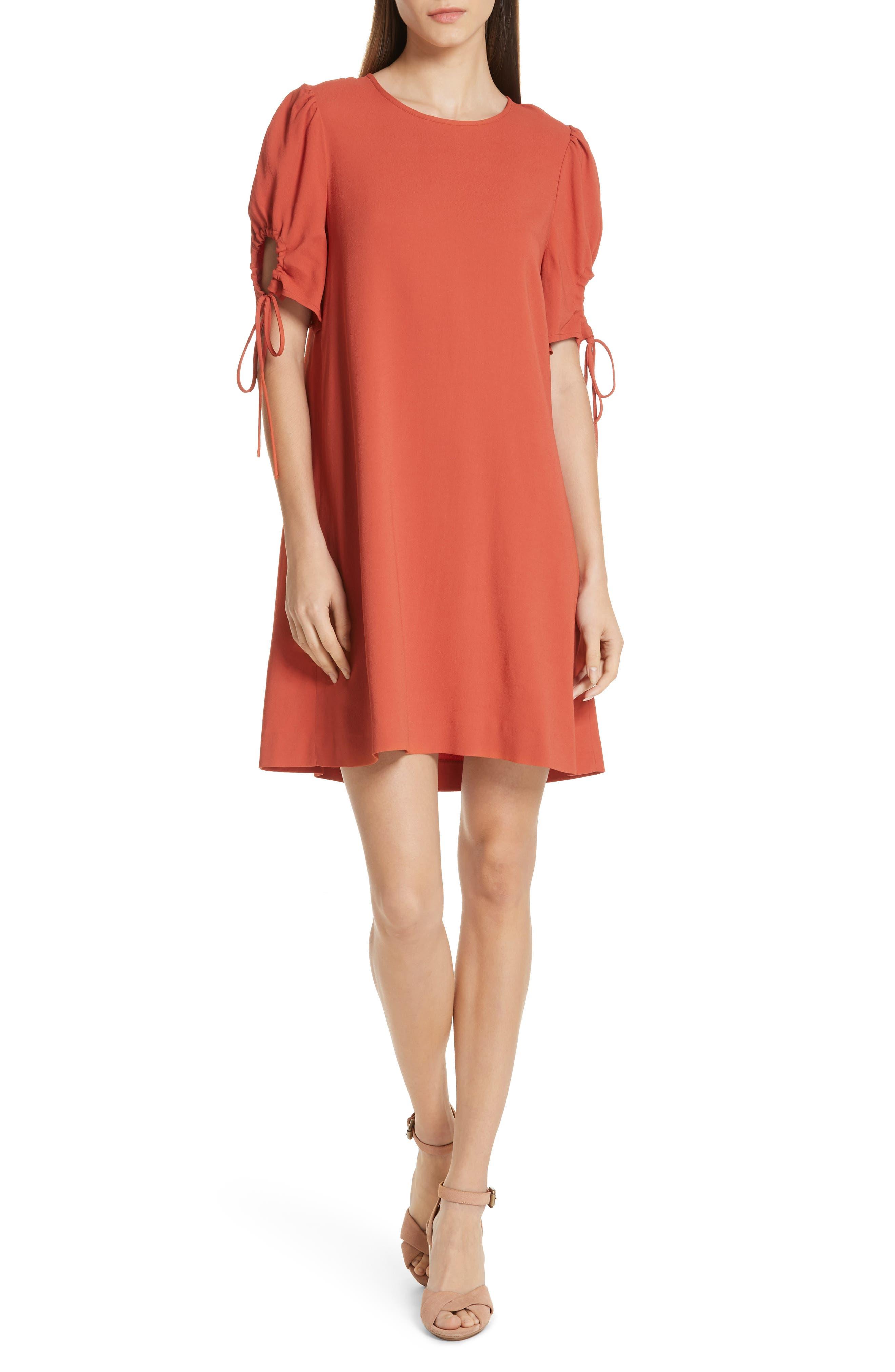See By Chloe Cinch Sleeve Shift Dress, 8 FR - Red