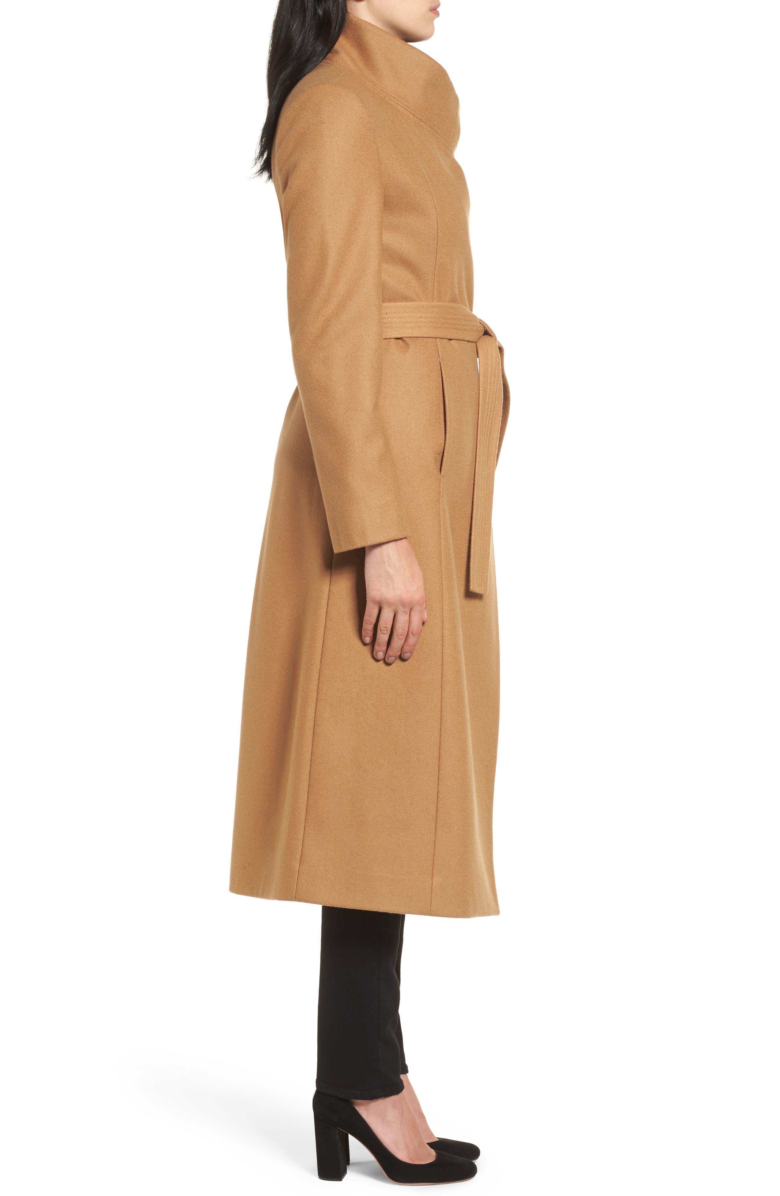 Wool Blend Maxi Wrap Coat,                             Alternate thumbnail 3, color,                             205