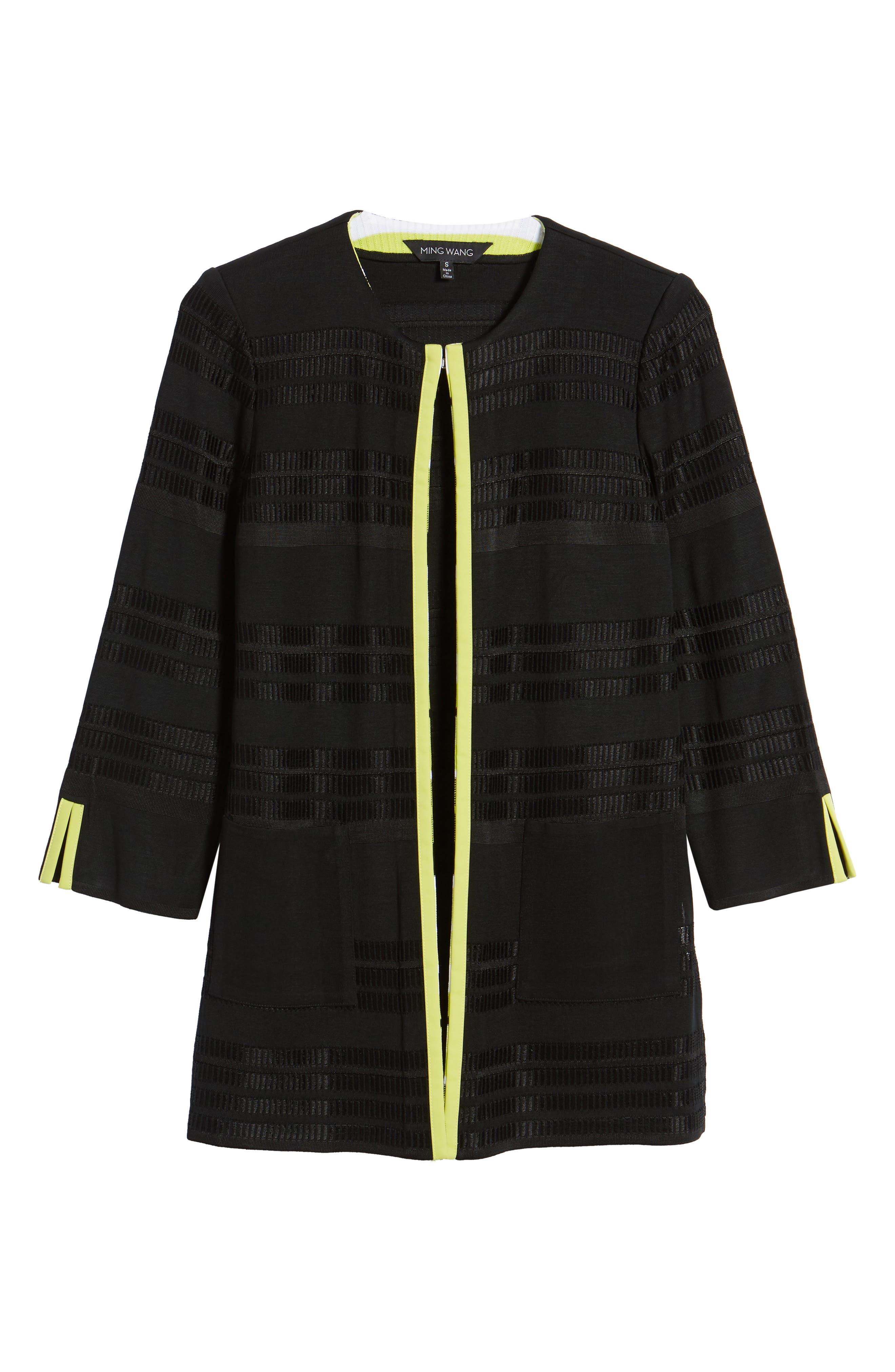 Long Jacquard Knit Jacket,                             Alternate thumbnail 5, color,                             BLACK/ PEAR/ WHITE