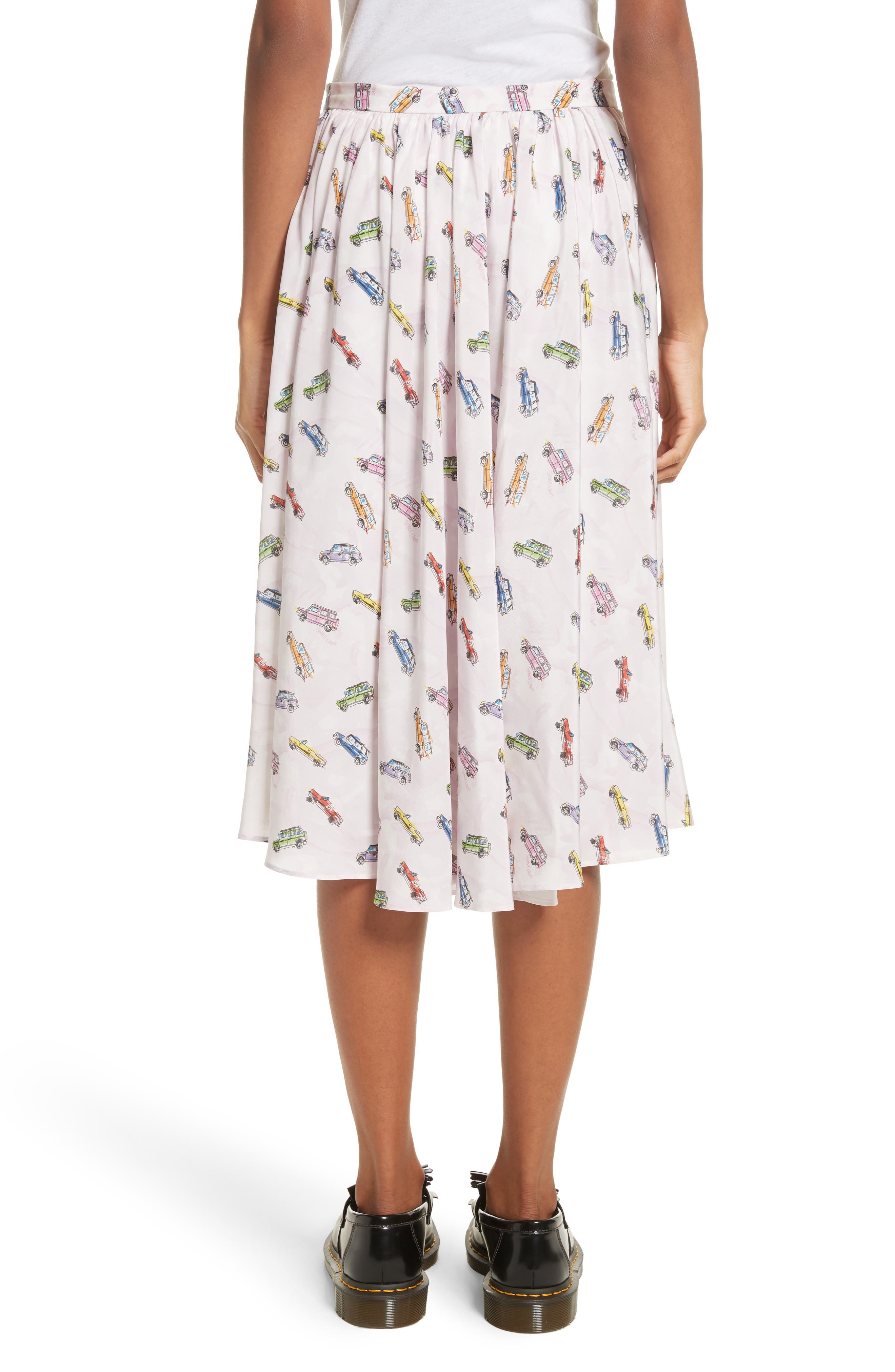 Linguini Car Print Silk Skirt,                             Alternate thumbnail 2, color,