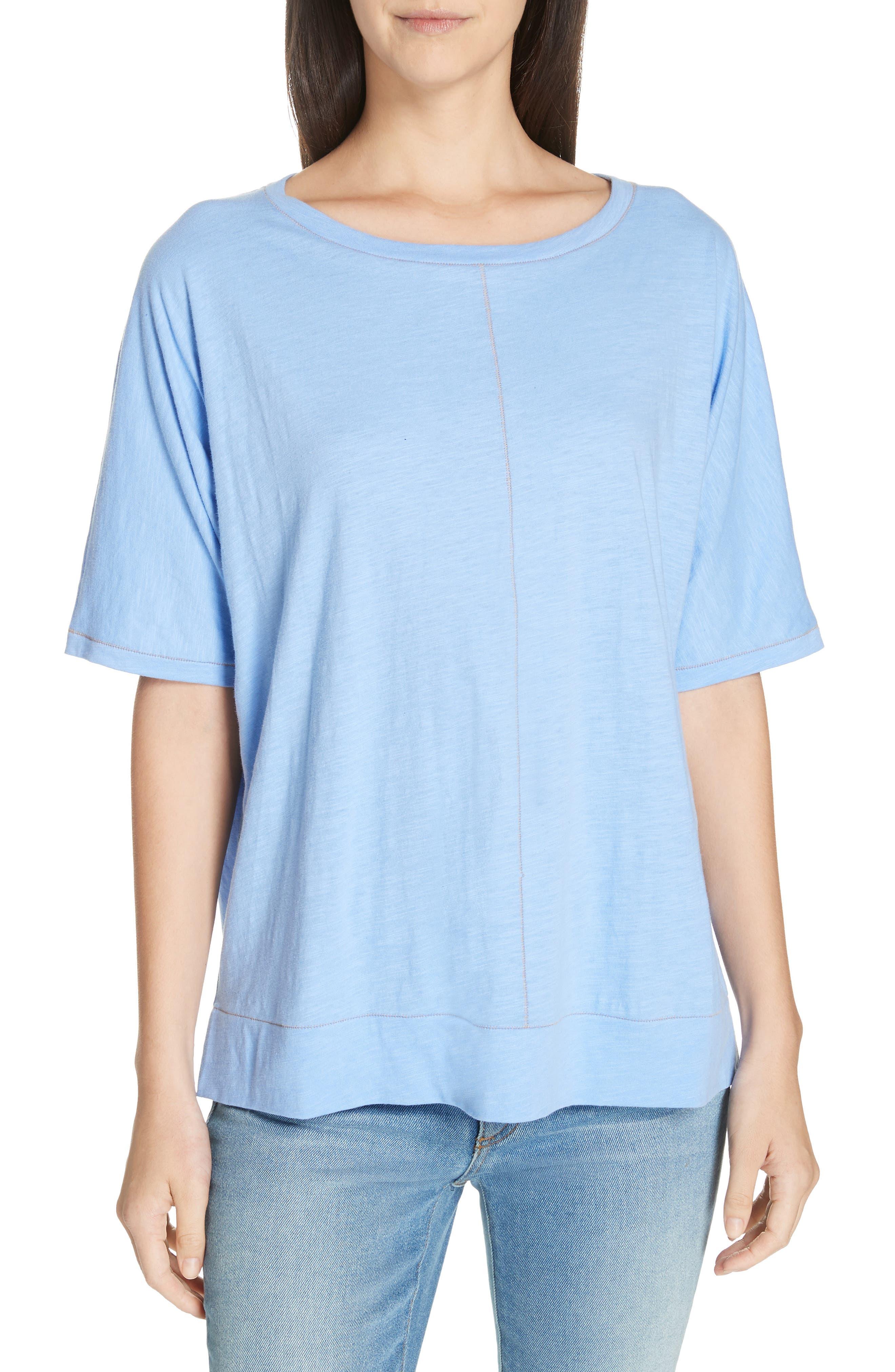 Eileen Fisher Jewel Neck Organic Cotton Tee, Blue