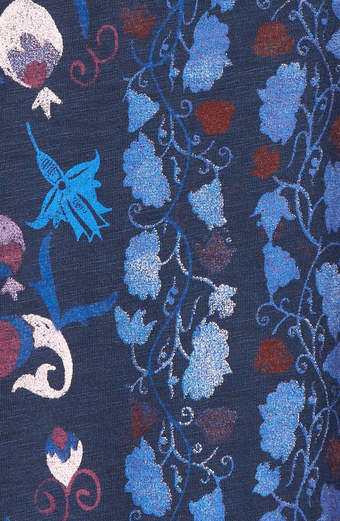 Floral Print Tee,                             Alternate thumbnail 6, color,