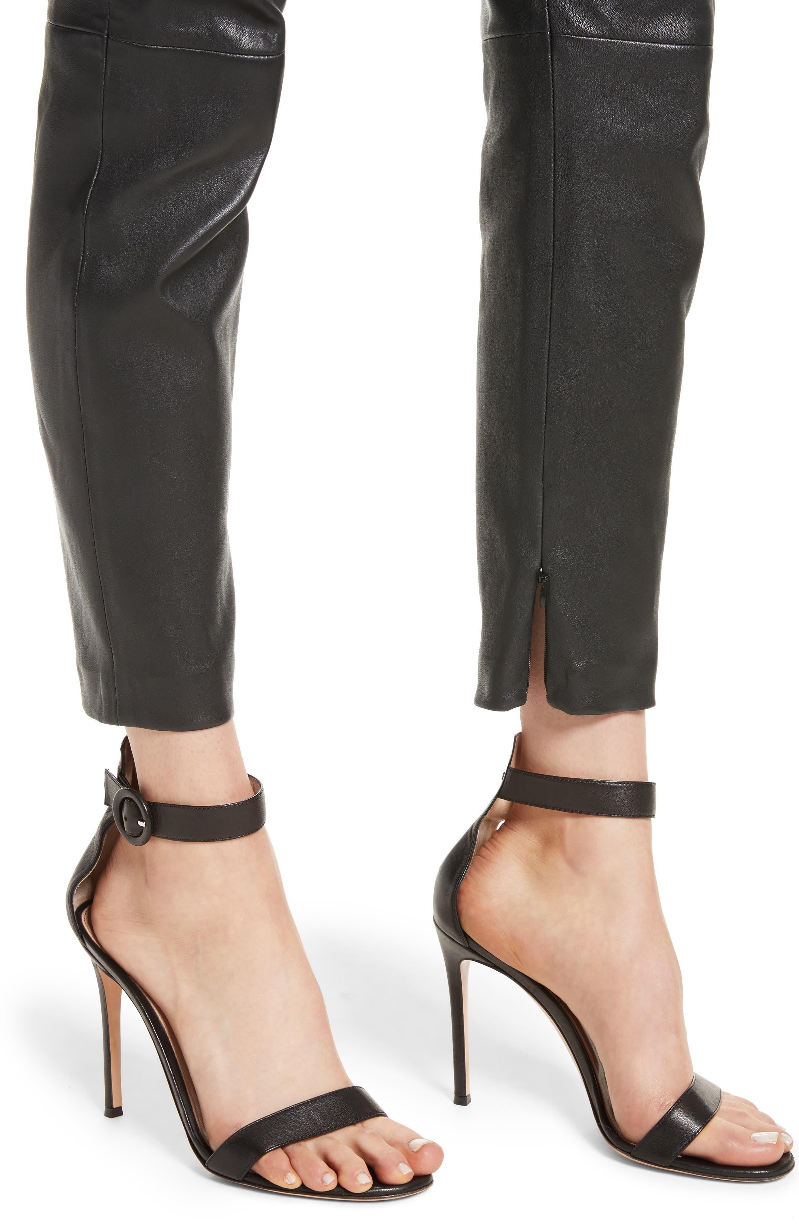 Stretch Nappa Leather Crop Pants,                             Alternate thumbnail 4, color,                             CAVIAR
