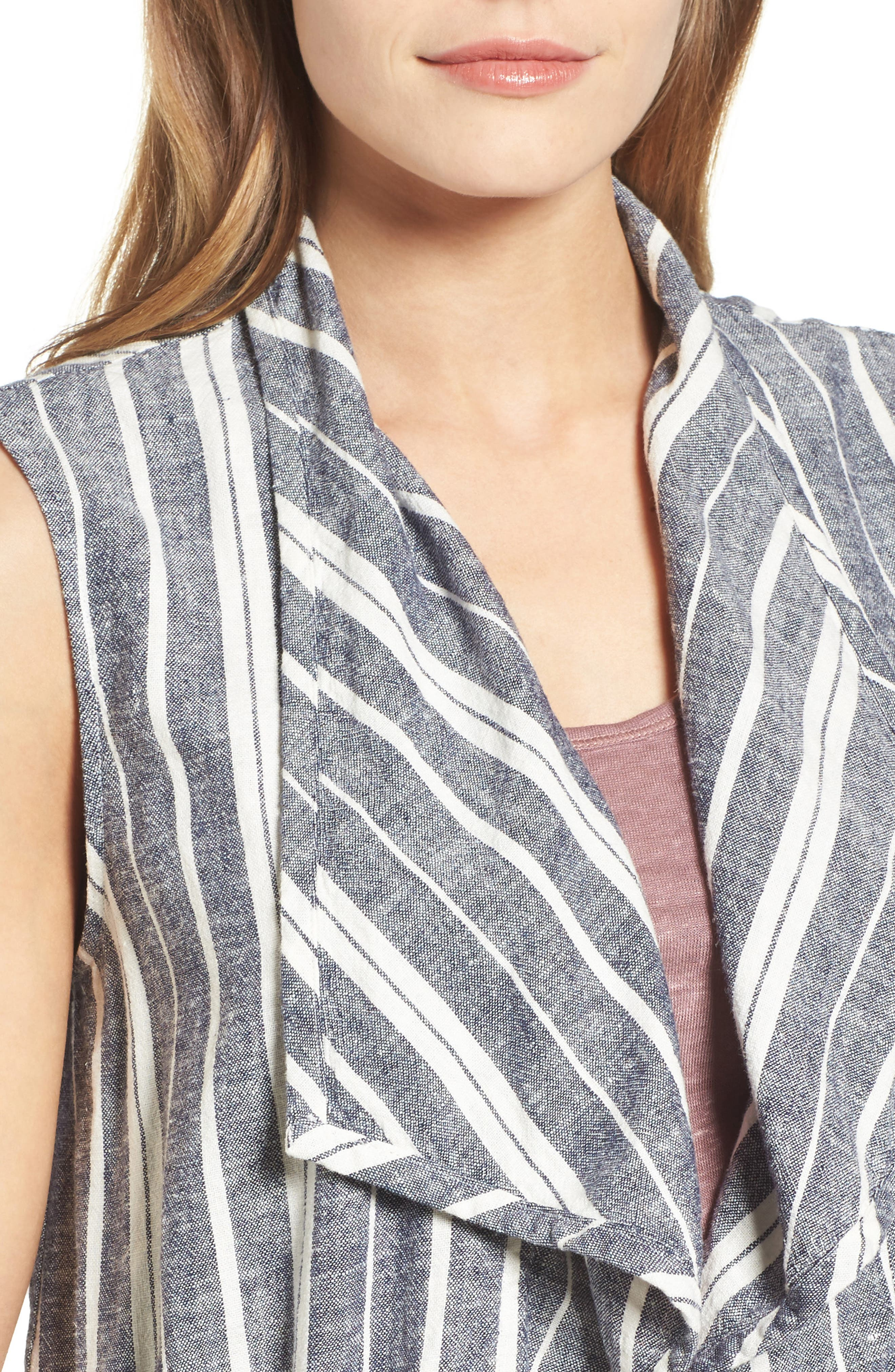 Stripe Linen Blend Vest,                             Alternate thumbnail 4, color,