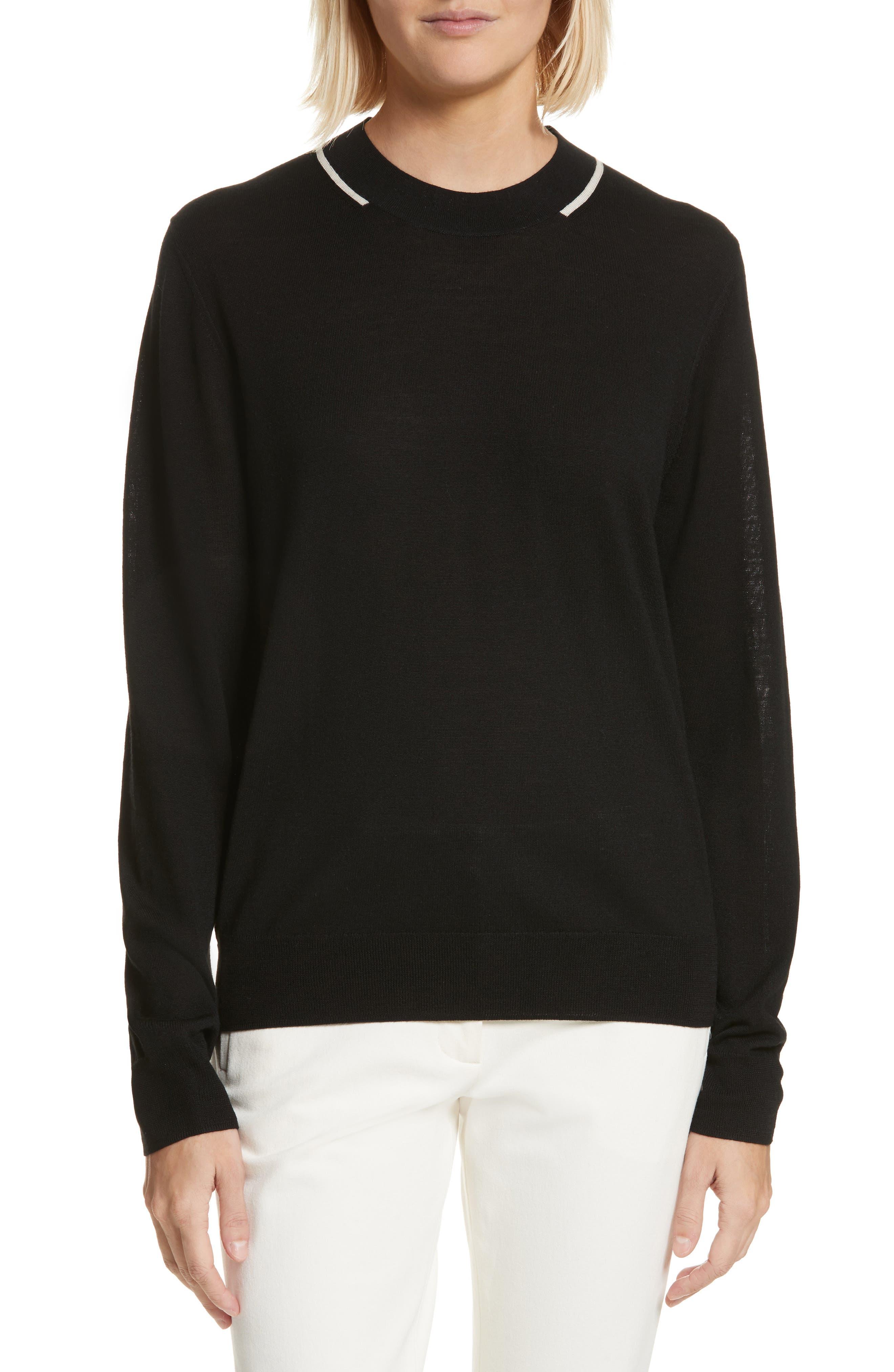 Fine Merino Wool Sweater,                             Main thumbnail 1, color,                             001
