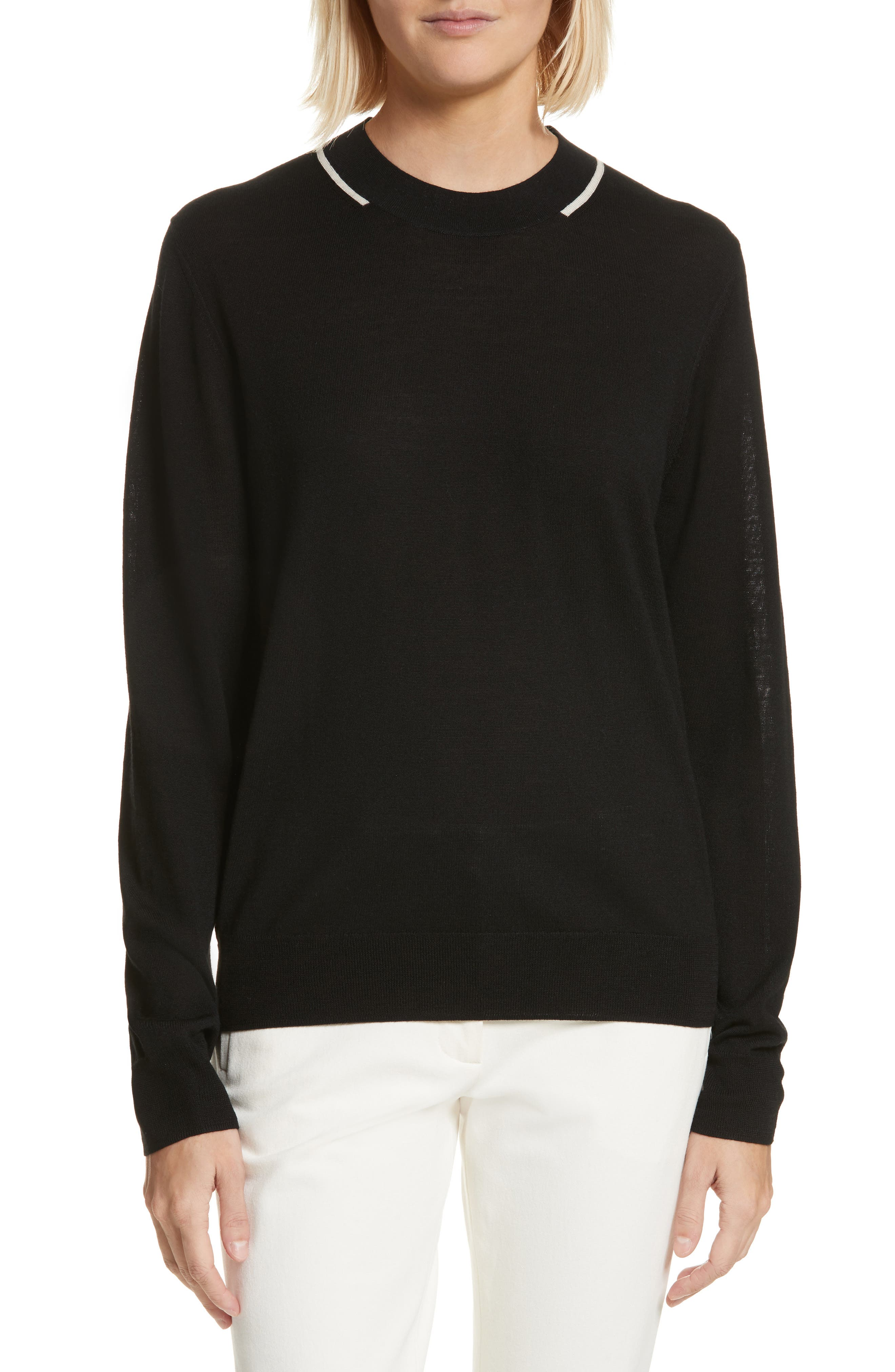 Fine Merino Wool Sweater,                         Main,                         color, 001