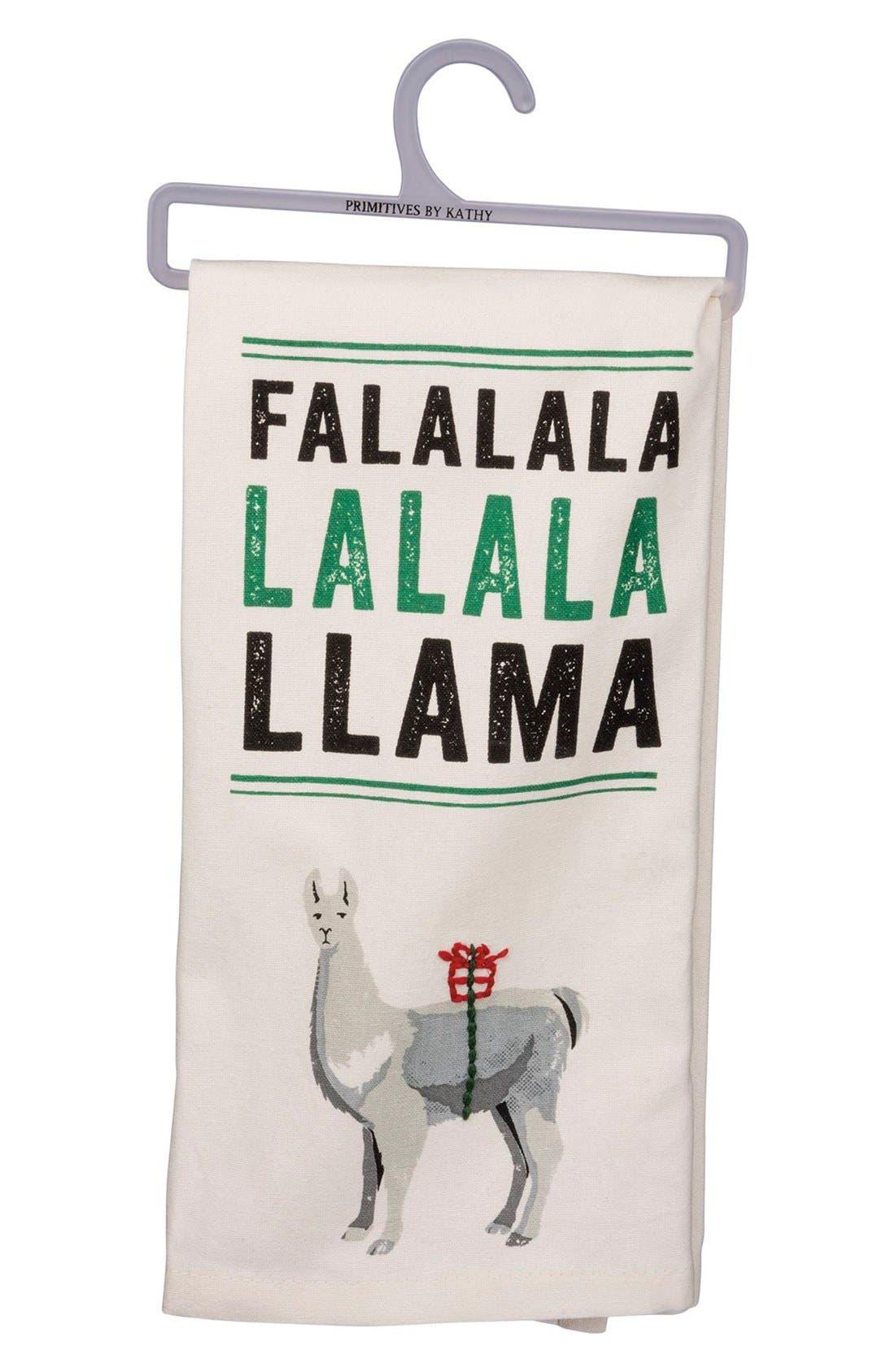PRIMITIVES BY KATHY,                             Fa La La La Llama Dish Towel,                             Main thumbnail 1, color,                             100