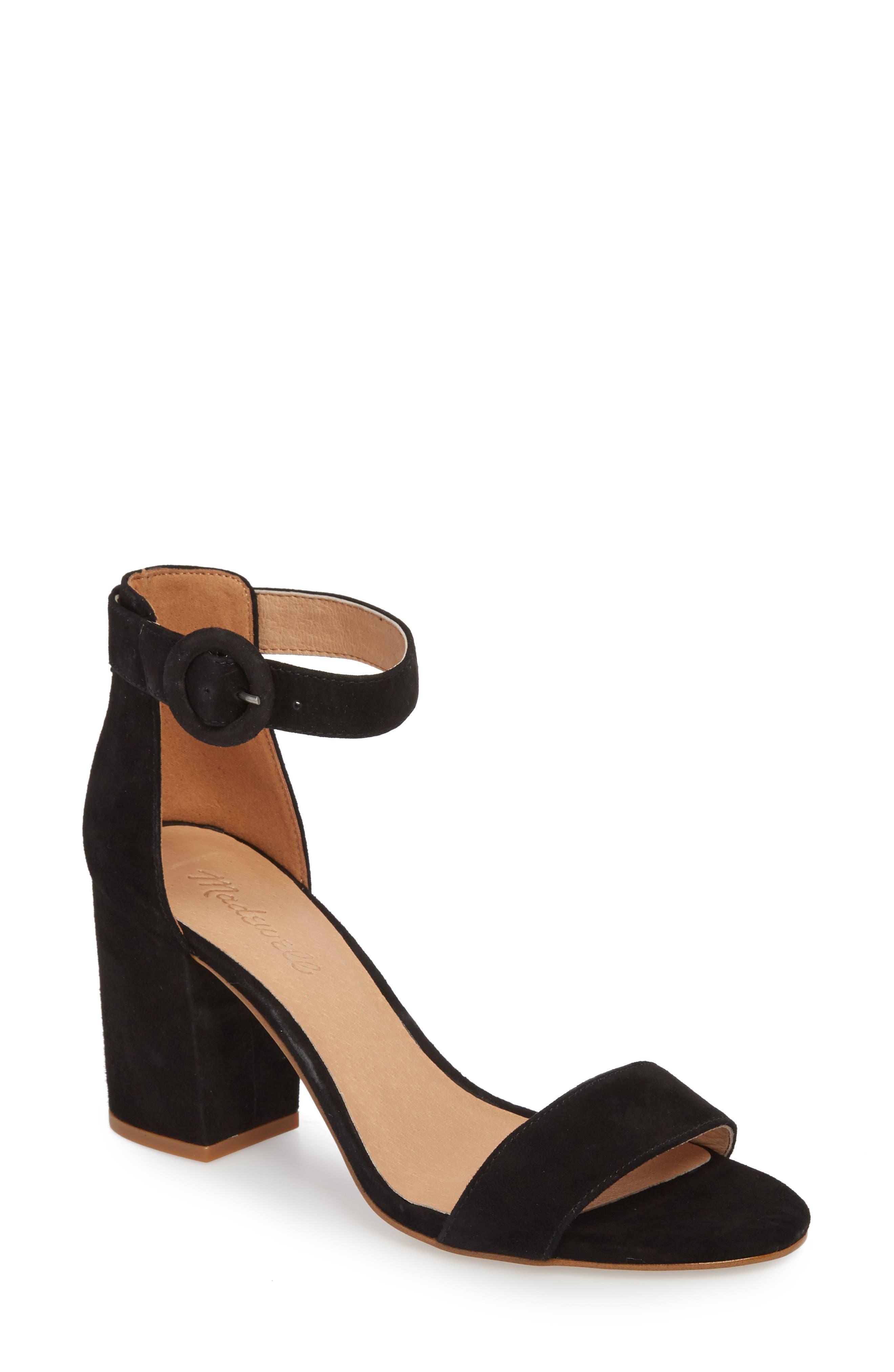 The Regina Ankle Strap Sandal,                         Main,                         color, TRUE BLACK SUEDE