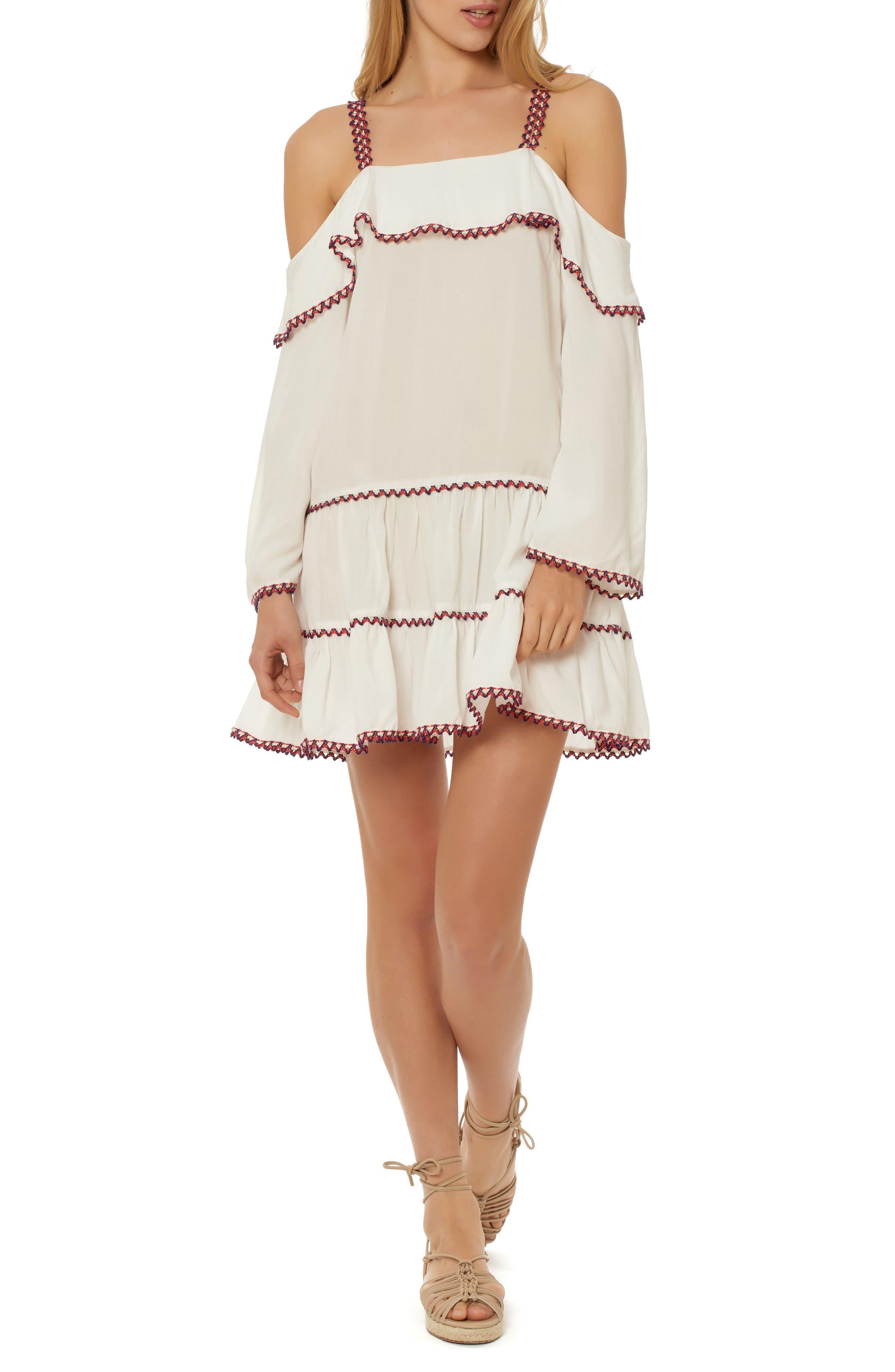 Cold Shoulder Cover-Up Dress,                         Main,                         color, 100