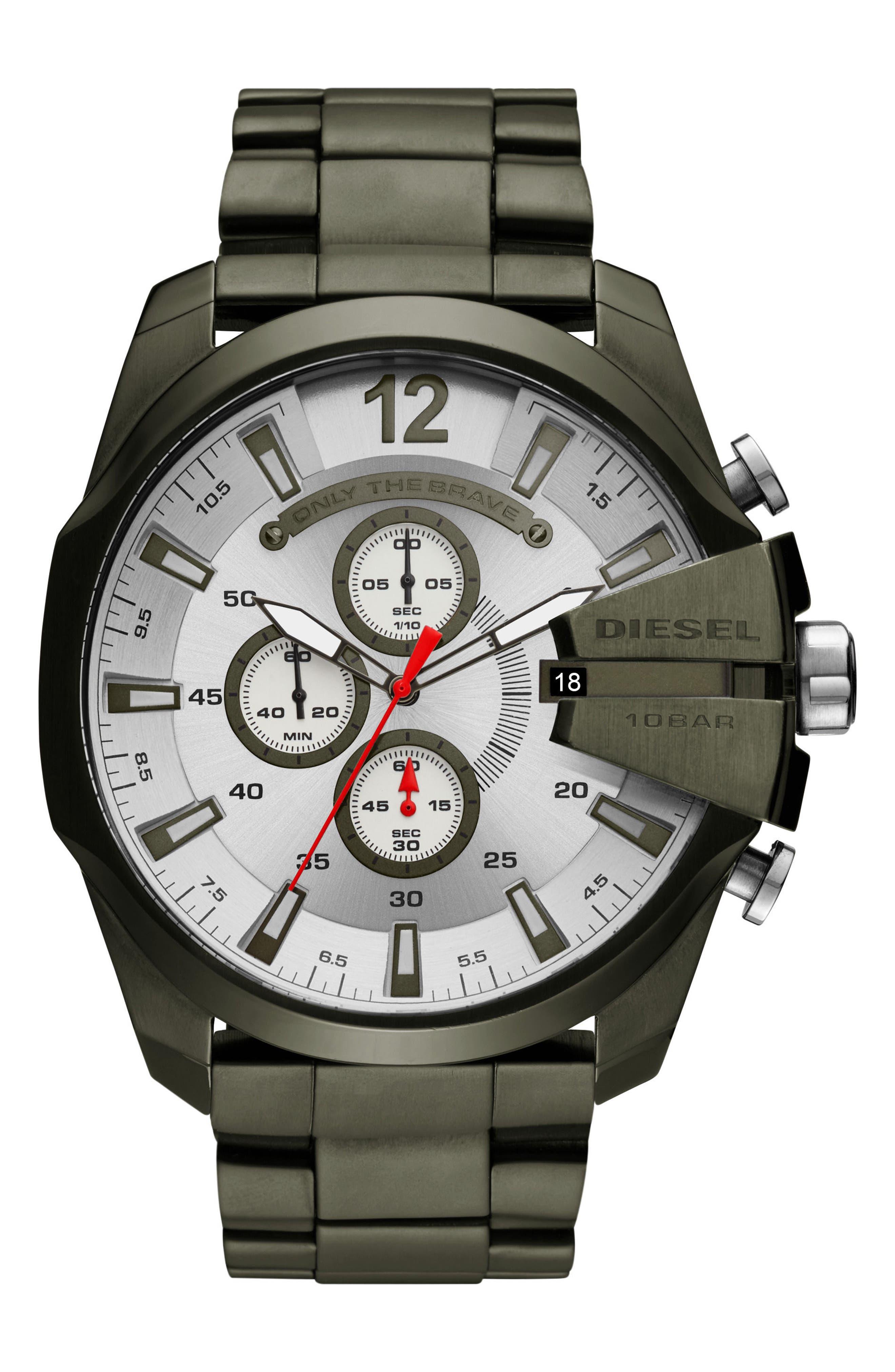 Mega Chief Chronograph Bracelet Watch, 51mm,                             Main thumbnail 1, color,                             WHITE/ OLIVE