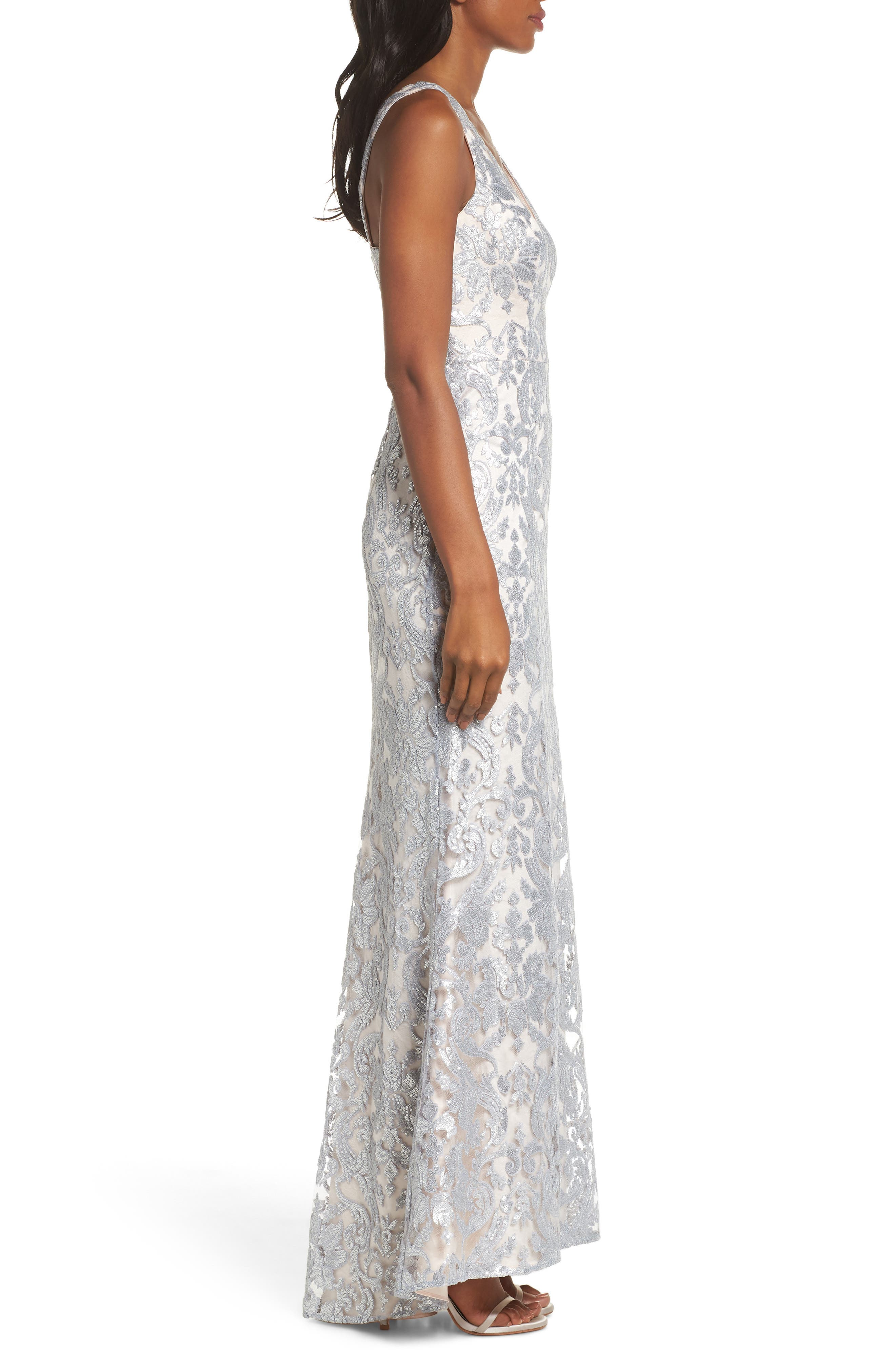 ELIZA J,                             Embroidered Evening Dress,                             Alternate thumbnail 3, color,                             SILVER