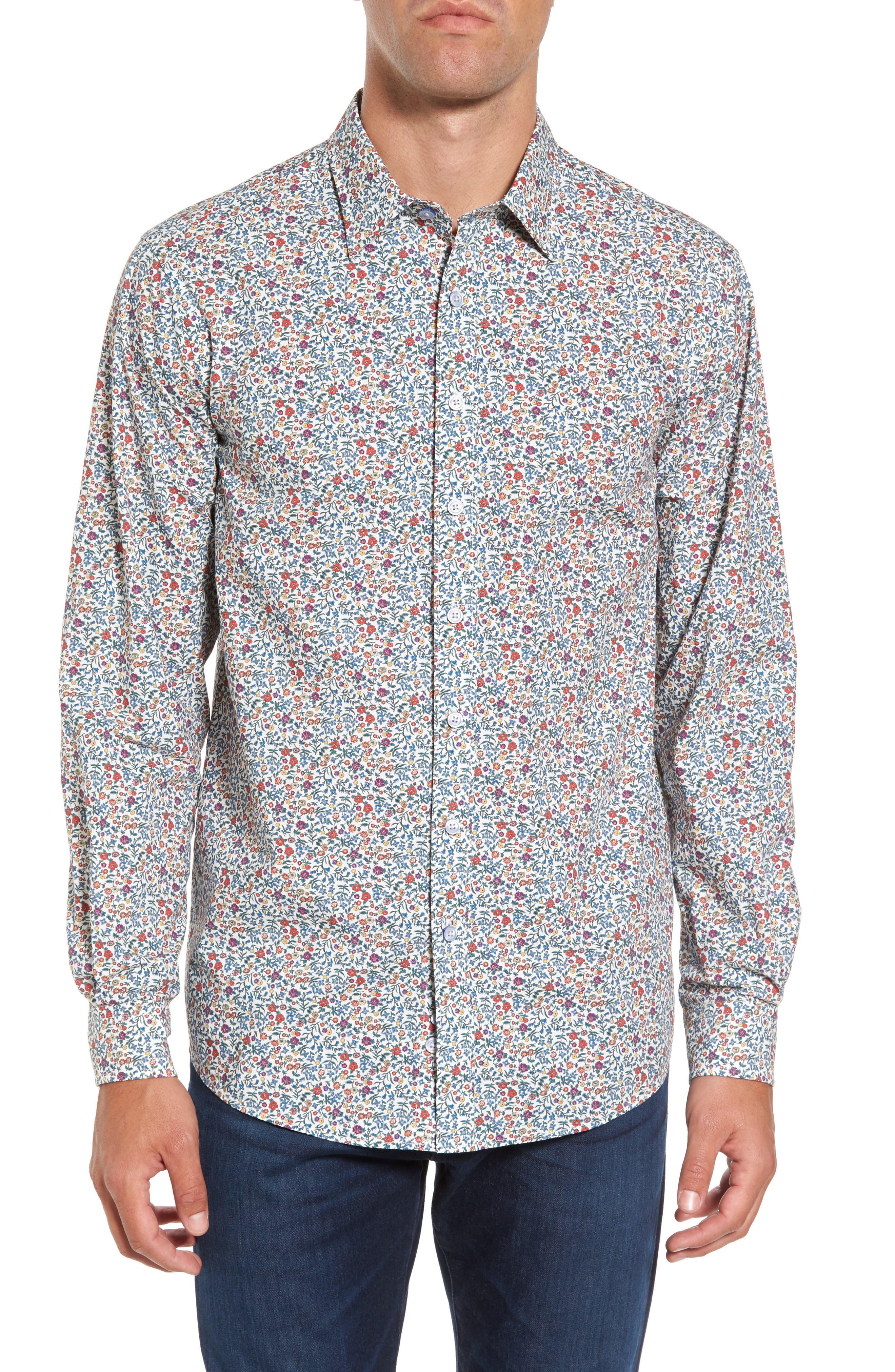 Cowes Bay Regular Fit Floral Sport Shirt,                             Main thumbnail 1, color,