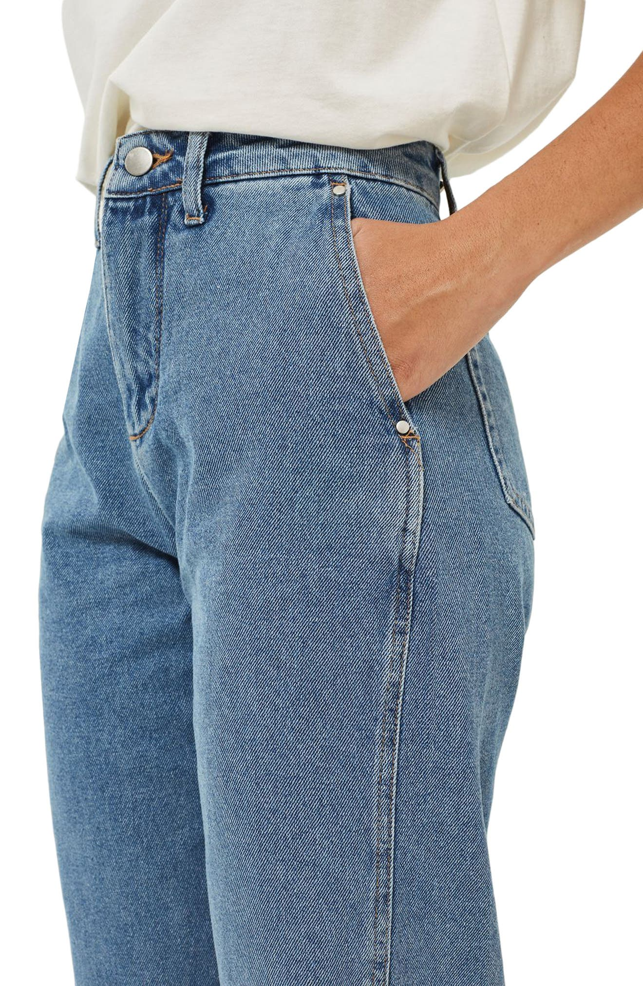Displaced Seam Boyfriend Jeans,                             Alternate thumbnail 4, color,                             400
