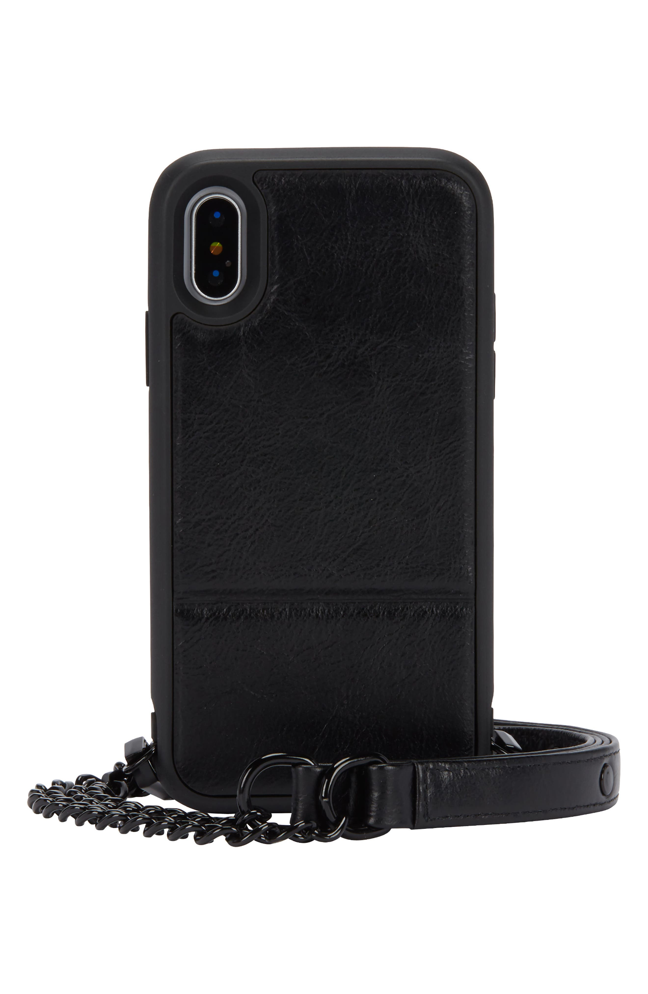 Off the Chain iPhone X/Xs Crossbody Case,                             Main thumbnail 1, color,                             BLACK