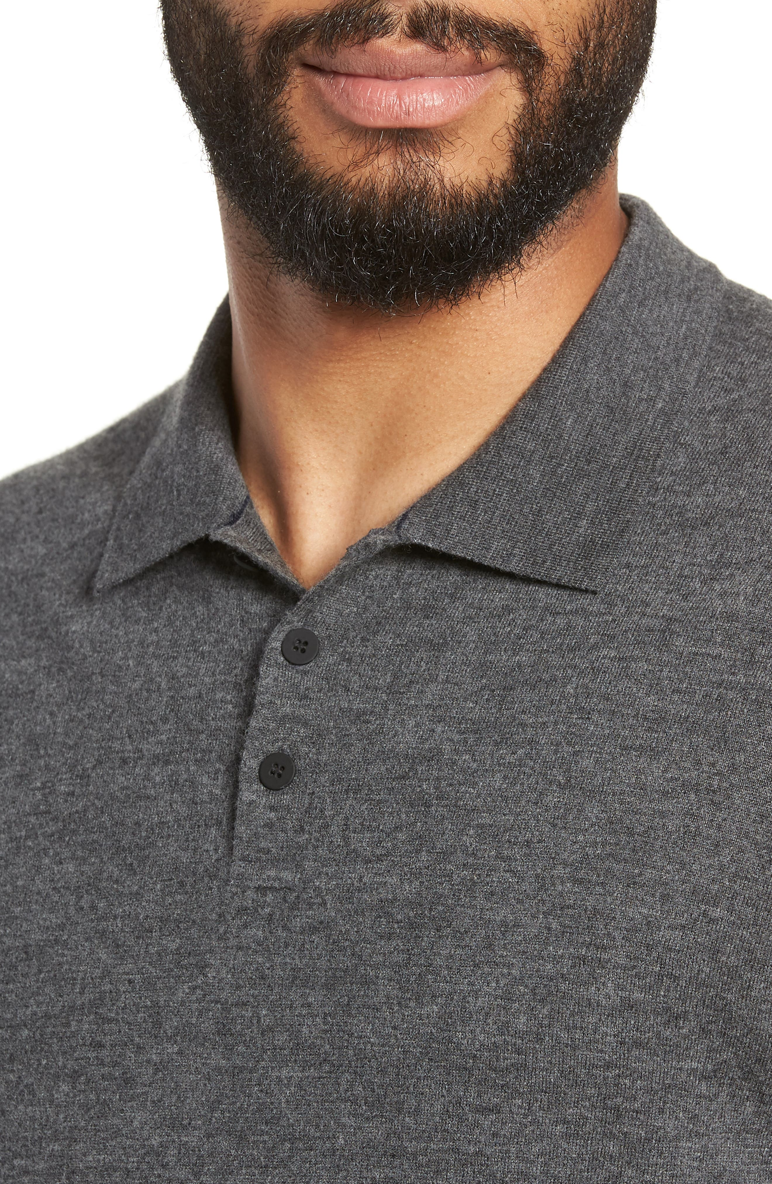 Regular Fit Long Sleeve Wool & Cashmere Polo,                             Alternate thumbnail 4, color,                             020