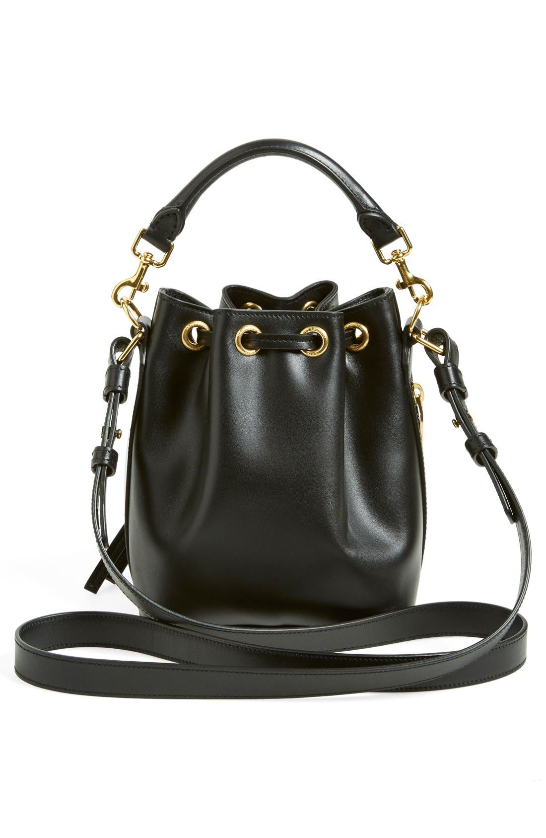 'Small' Calfskin Leather Bucket Bag,                             Alternate thumbnail 5, color,                             001