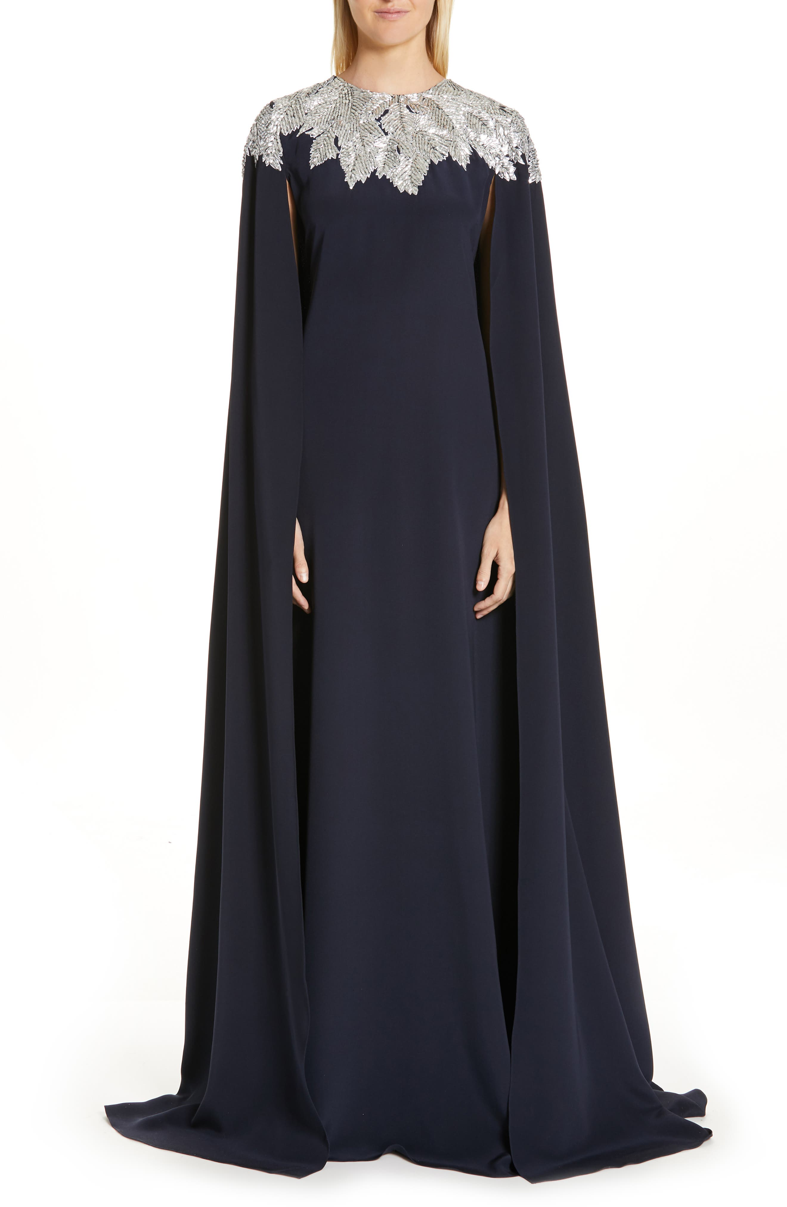 Oscar De La Renta Embellished Cape Silk Gown, Blue