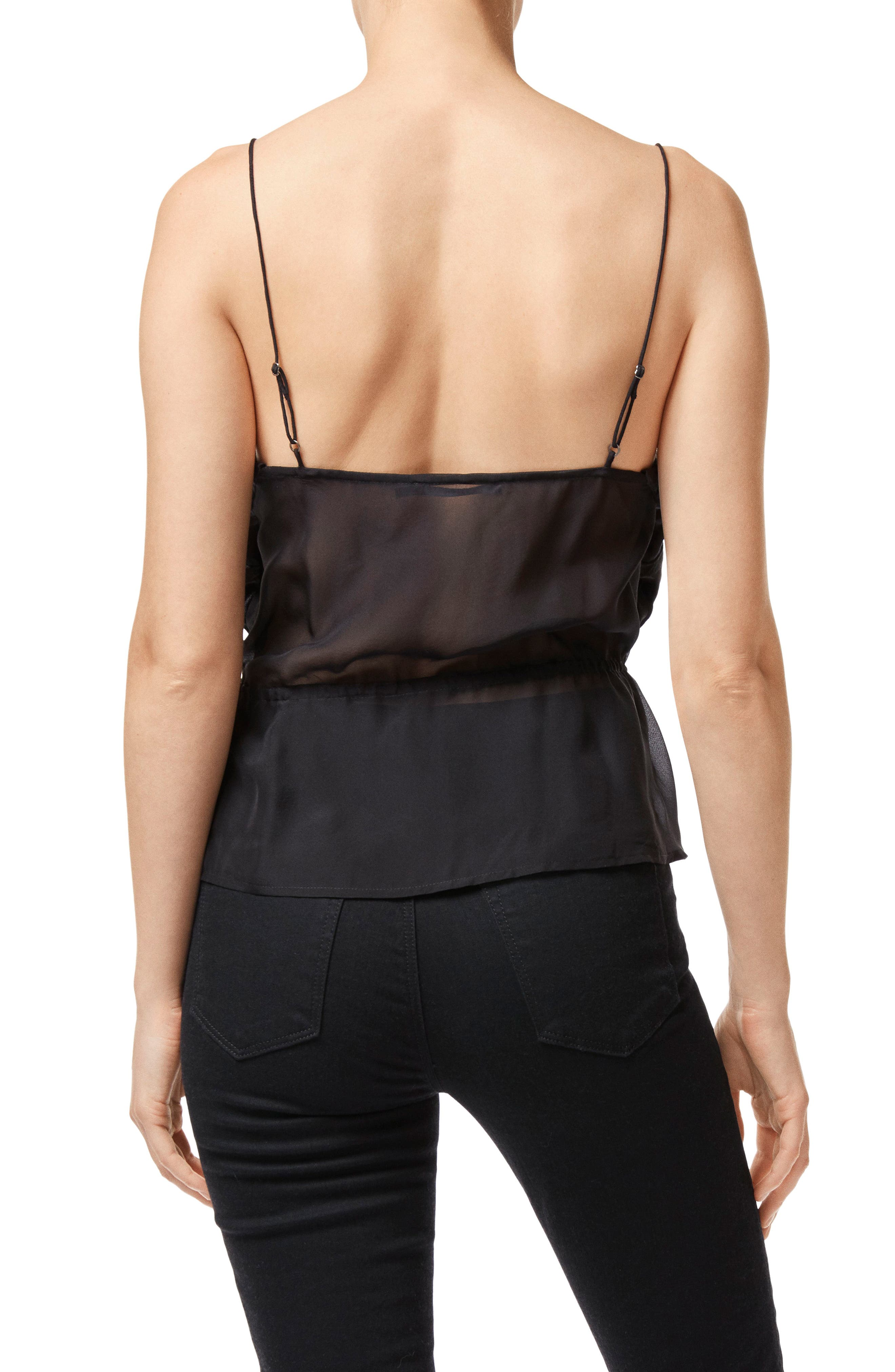 Lucy Peplum Camisole,                             Alternate thumbnail 2, color,                             BLACK