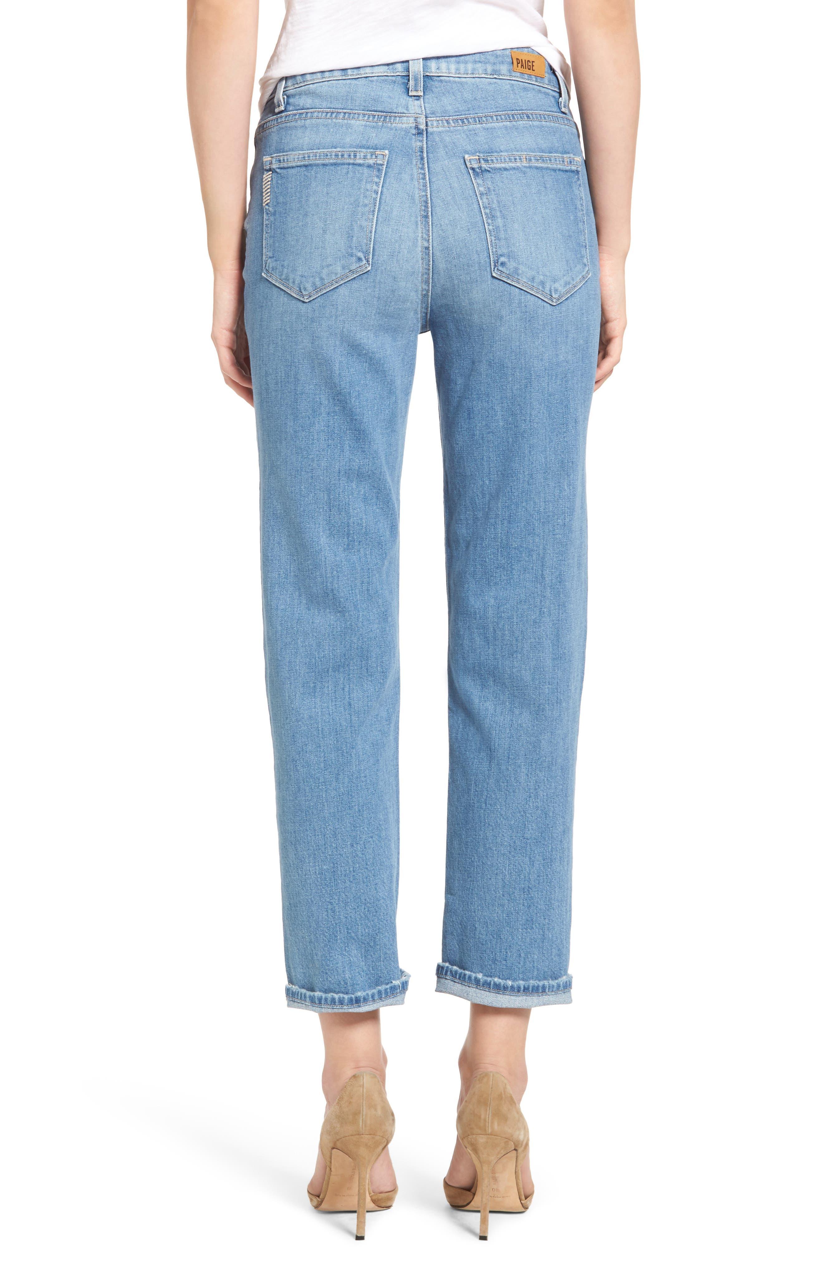Sarah High Waist Crop Straight Leg Jeans,                             Alternate thumbnail 3, color,                             400