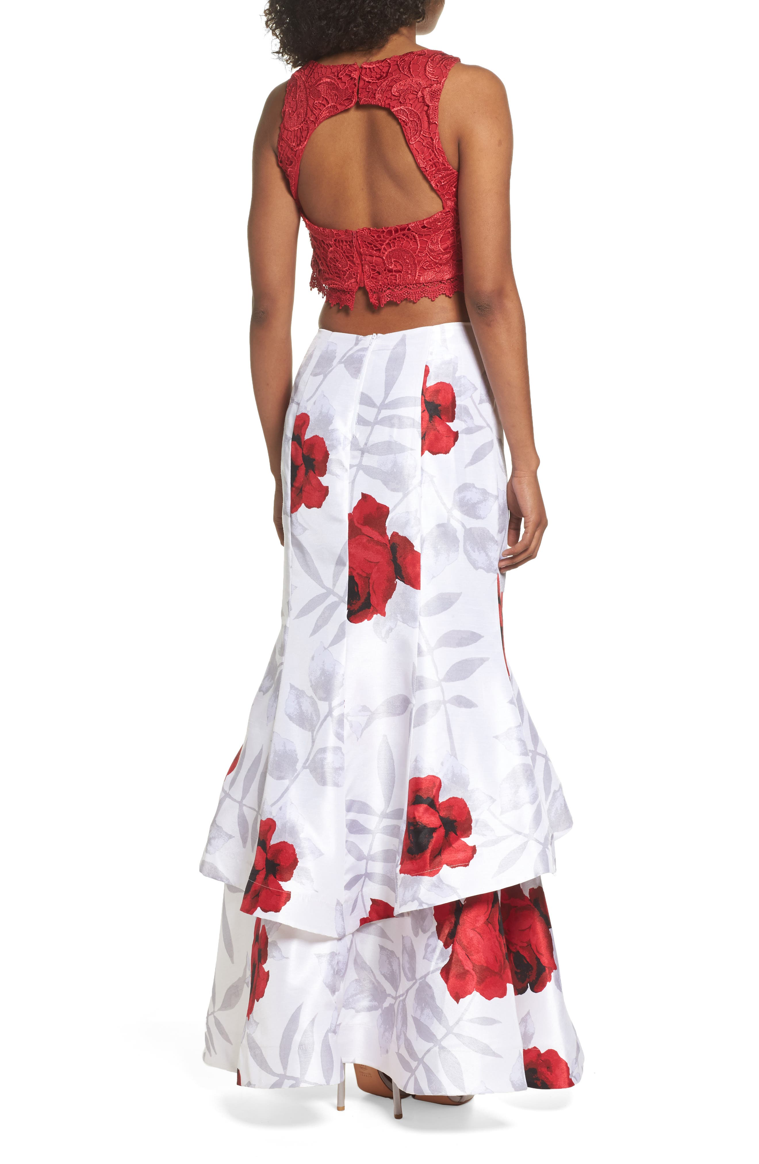 Lace & Print Shantung Two-Piece Gown,                             Alternate thumbnail 2, color,                             900