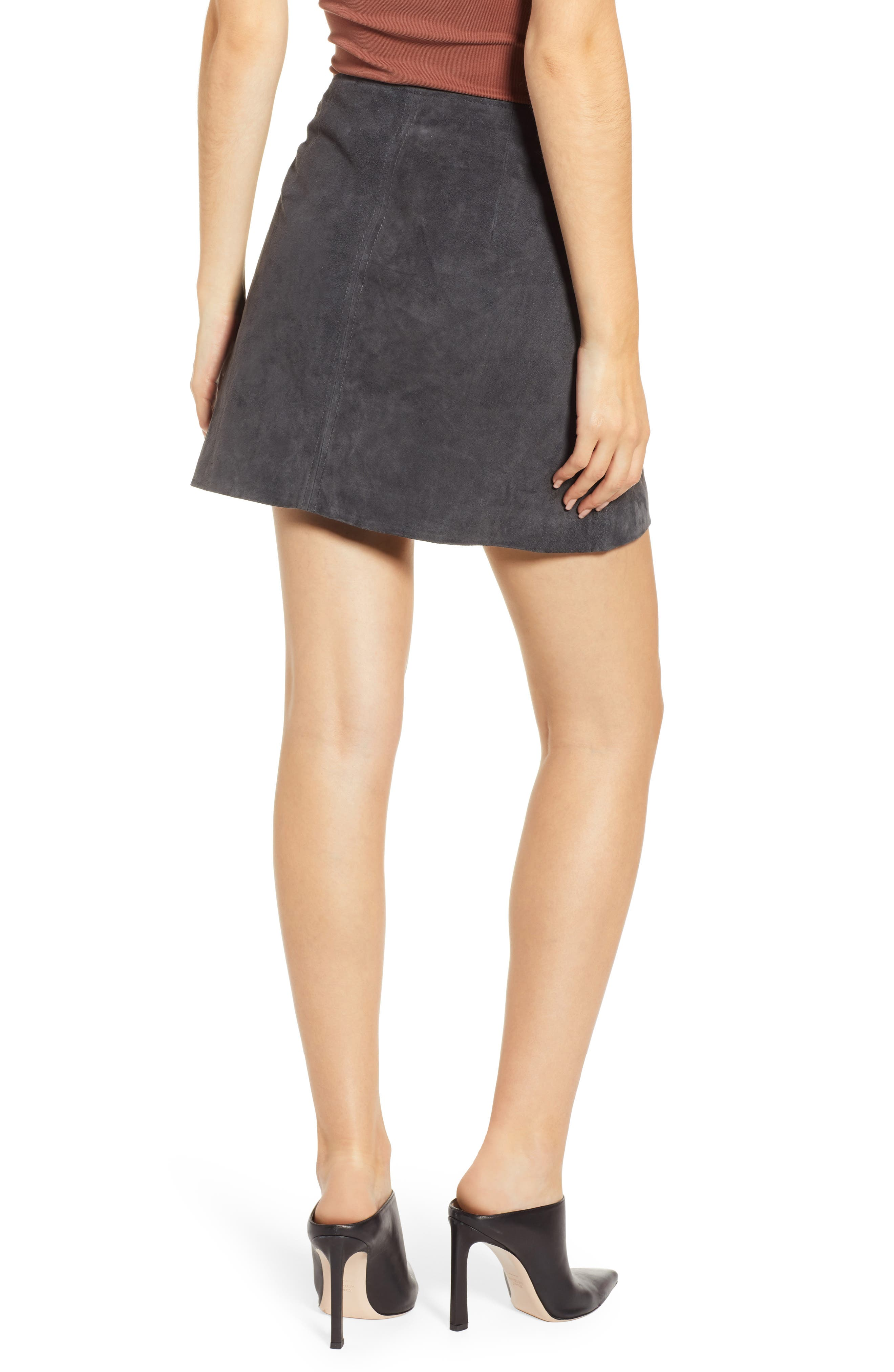 A-Line Suede Miniskirt,                             Alternate thumbnail 2, color,                             020