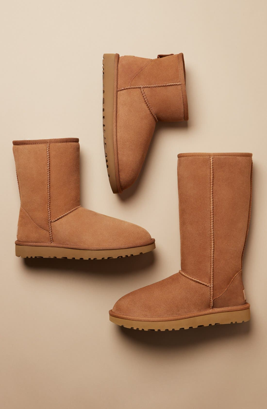 'Classic II' Genuine Shearling Lined Short Boot,                             Alternate thumbnail 9, color,                             CHESTNUT SUEDE