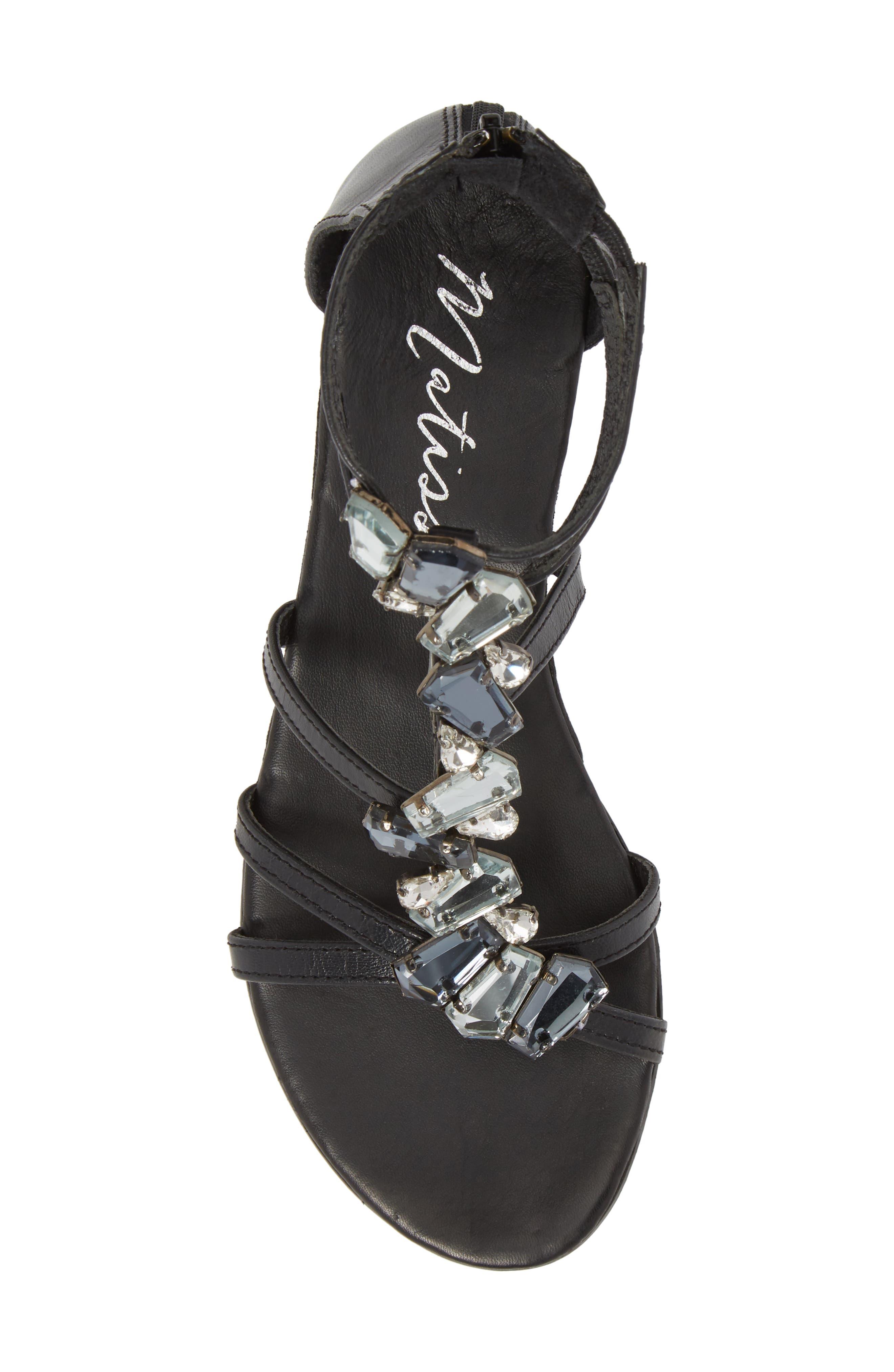 Didi Crystal Embellished Sandal,                             Alternate thumbnail 5, color,                             BLACK LEATHER