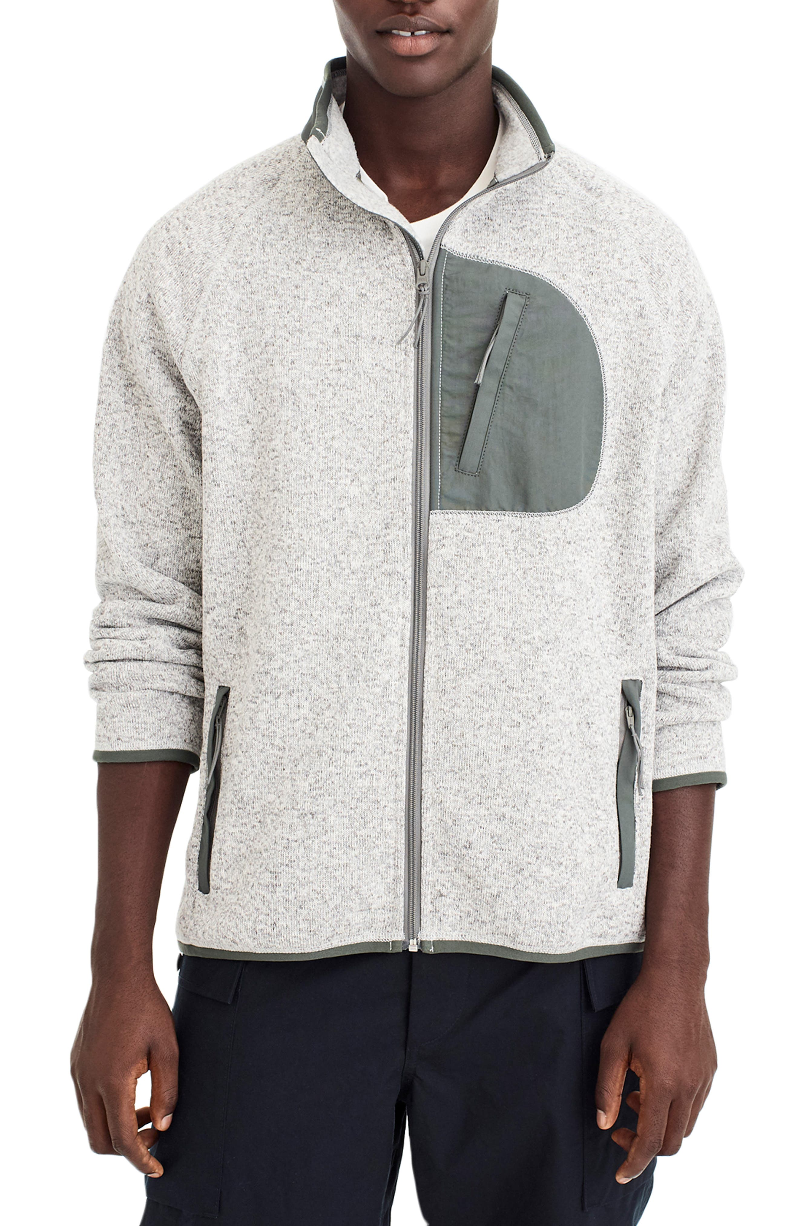 J.crew Classic Fit Fleece Sweater Jacket, Grey