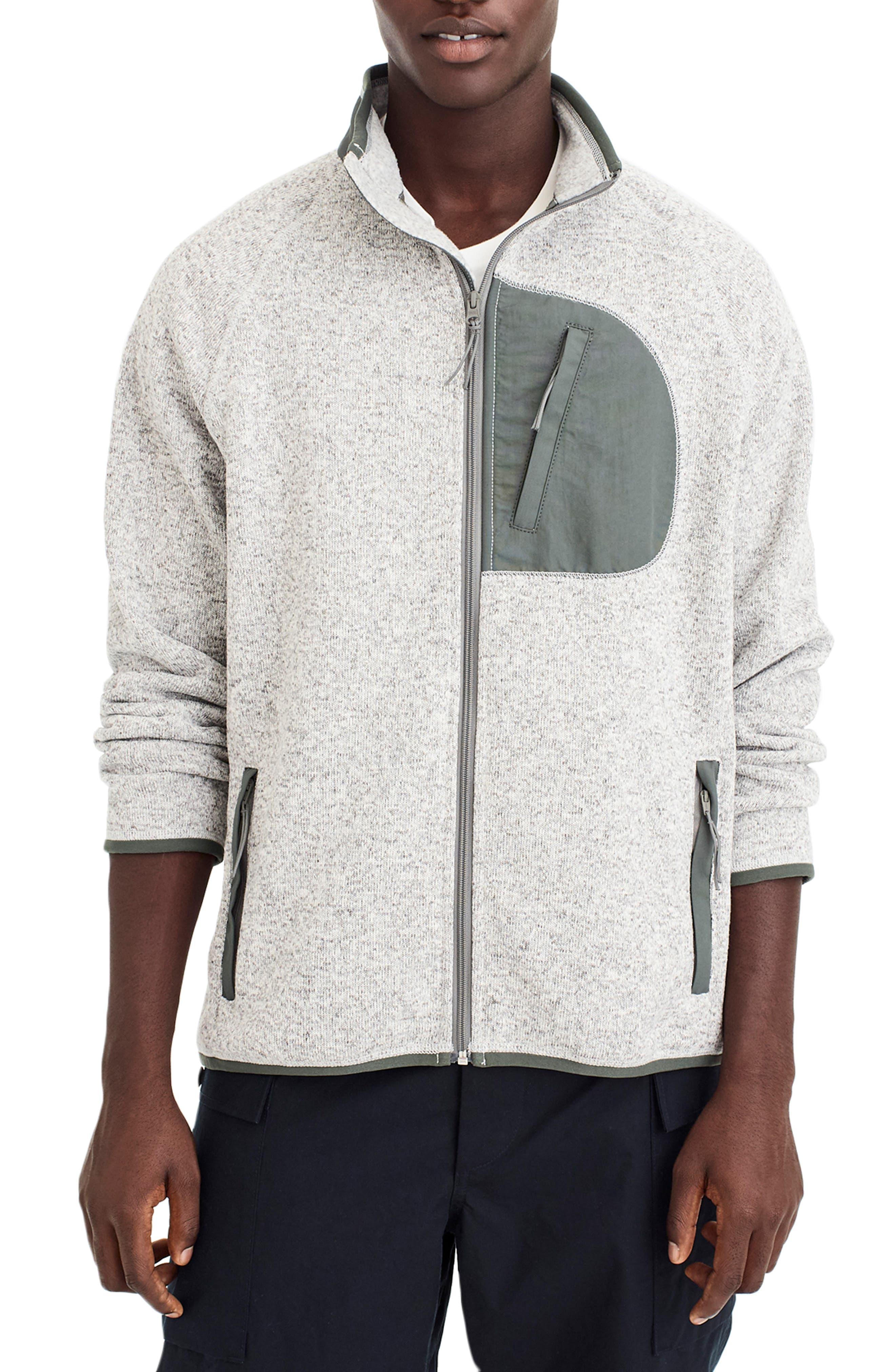 Classic Fit Fleece Sweater Jacket,                             Main thumbnail 1, color,                             LIGHT GREY