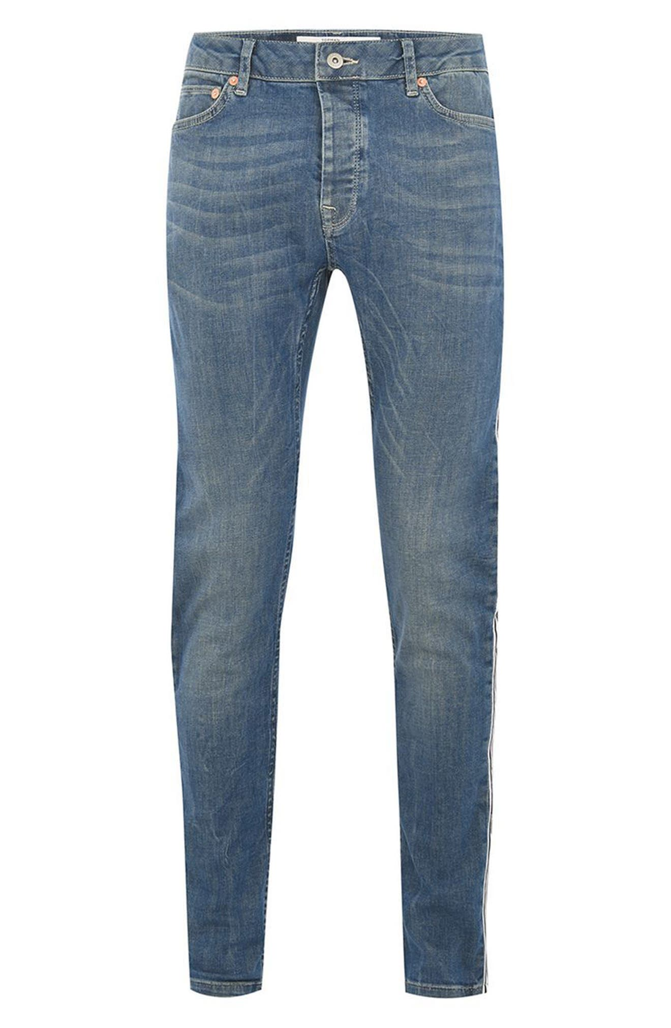TOPMAN,                             Tape Stretch Skinny Fit Jeans,                             Alternate thumbnail 4, color,                             400
