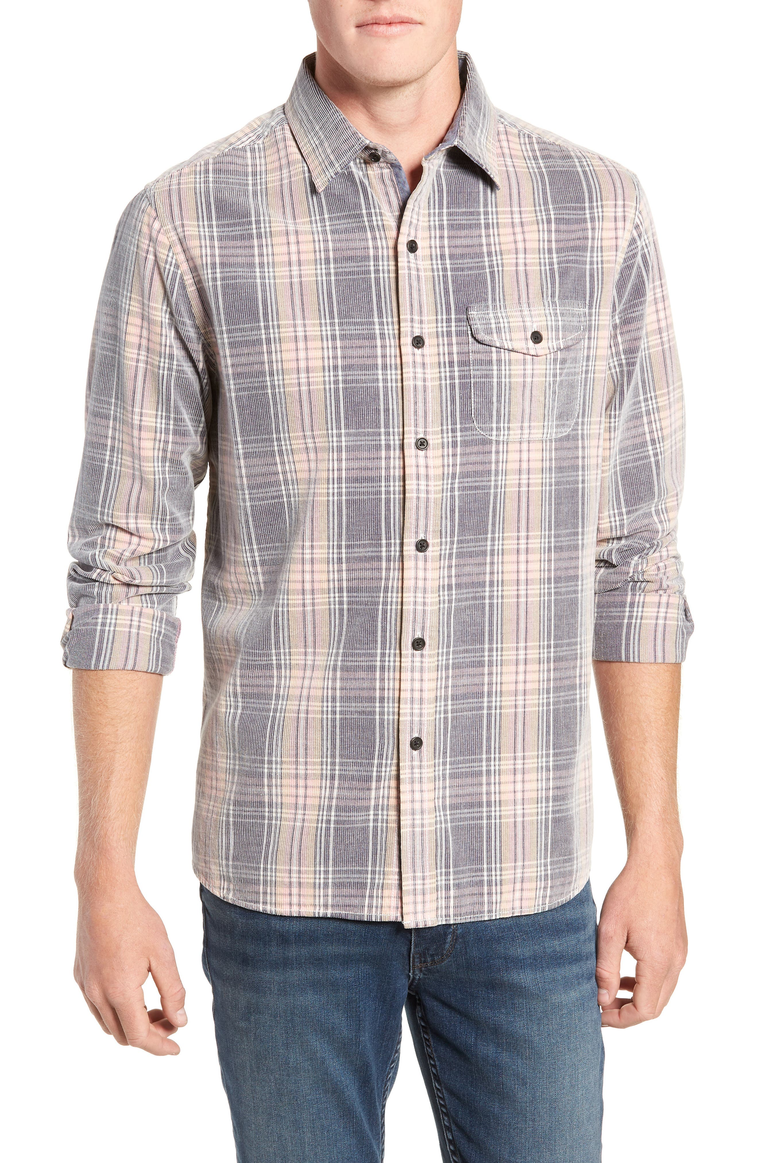 Regular Fit Plaid Corduroy Shirt,                             Main thumbnail 1, color,                             602