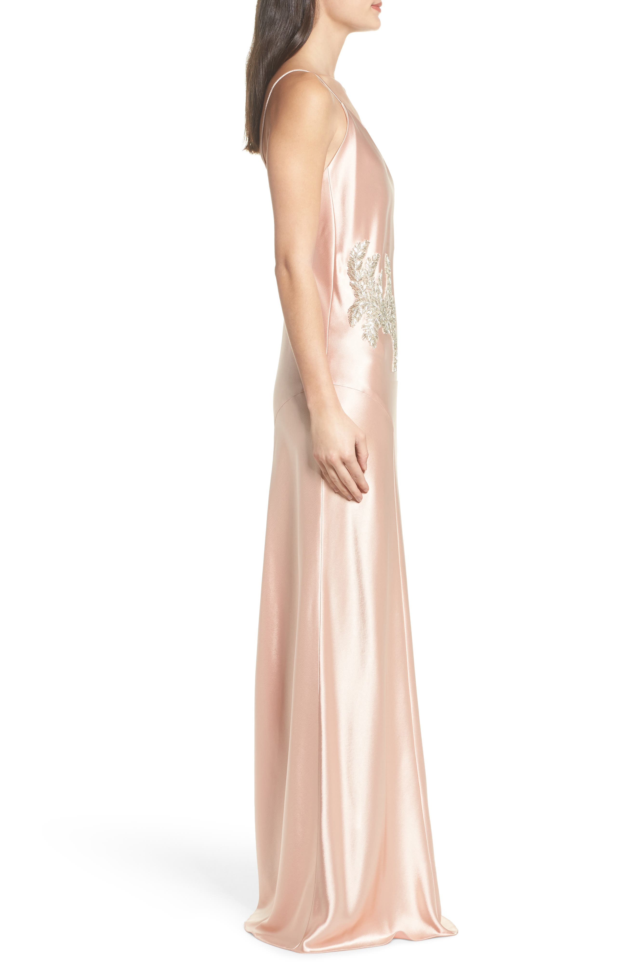 Carmen Embellished Satin Slip Gown,                             Alternate thumbnail 3, color,                             691