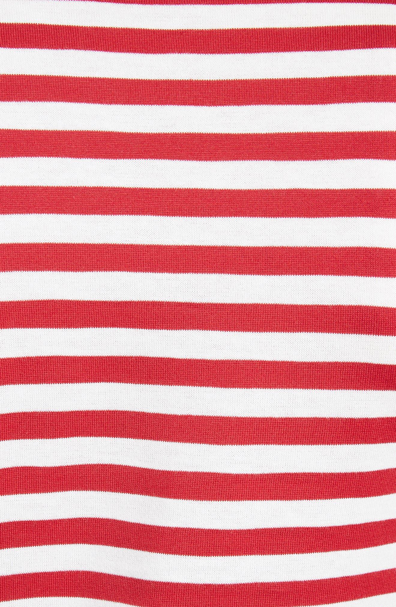 Stripe Cotton Tee,                             Alternate thumbnail 5, color,                             RED/ WHITE
