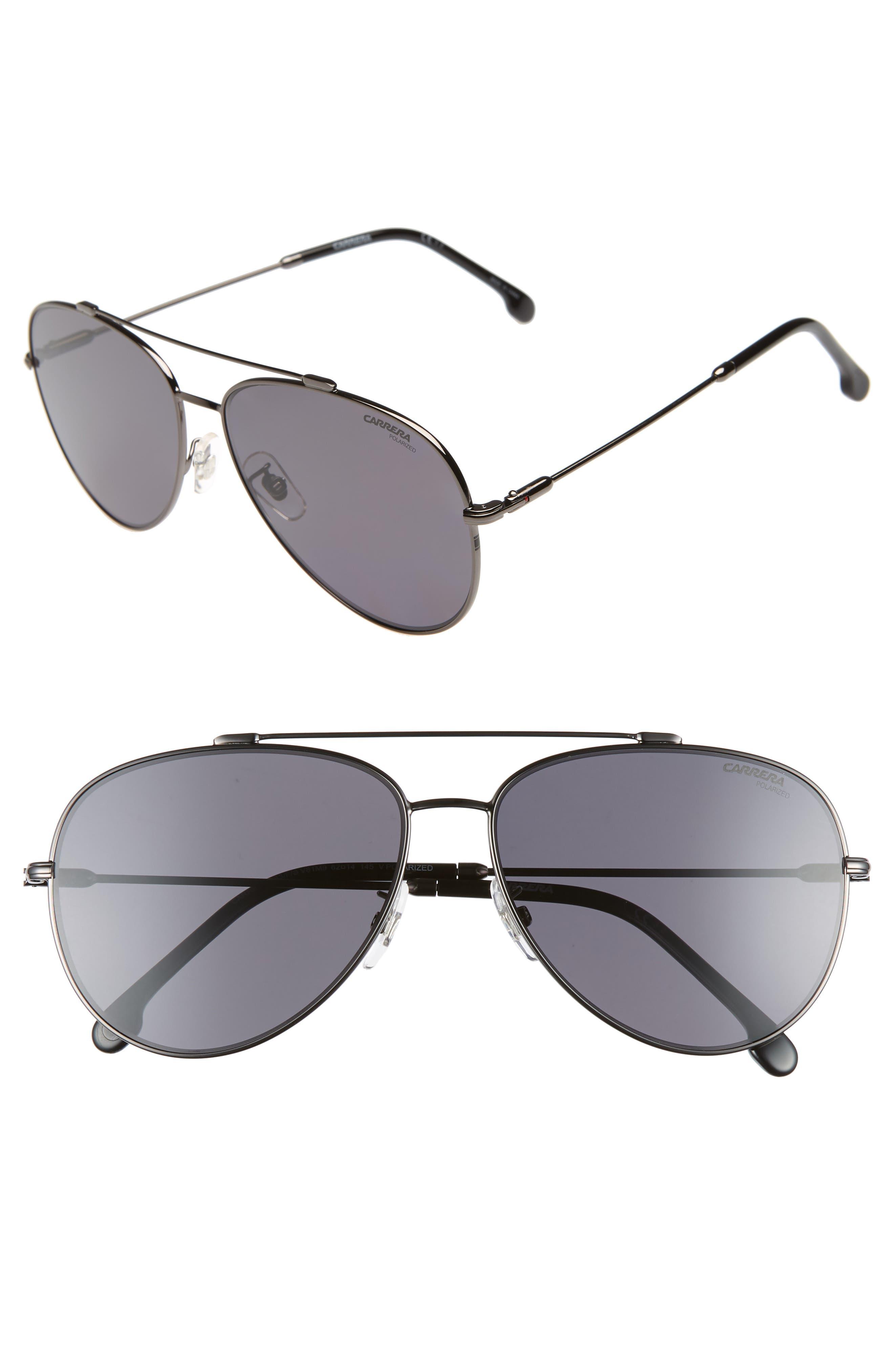 62mm Polarized Aviator Sunglasses,                         Main,                         color, DARK RUTHENIUM/ BLACK