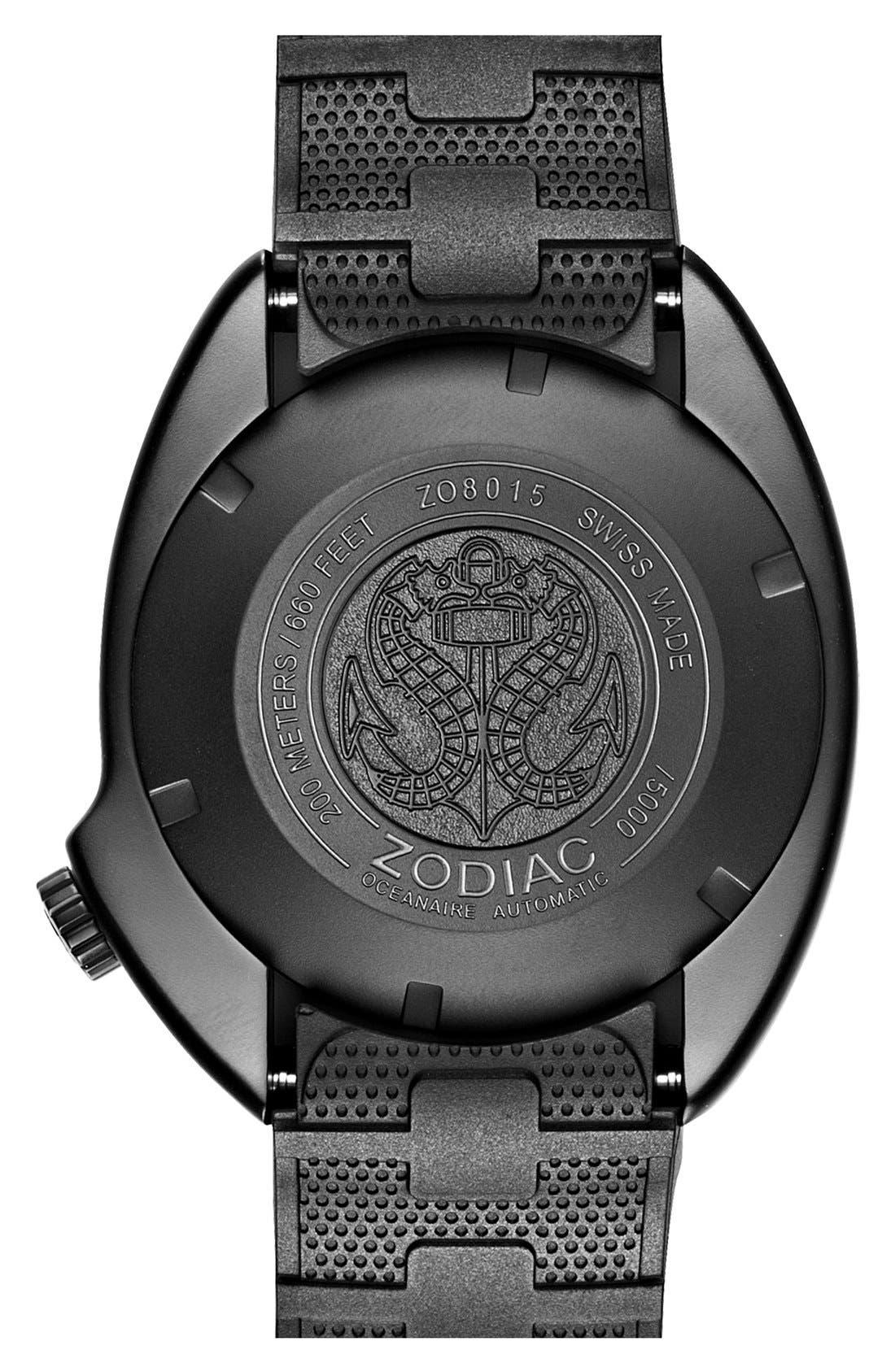ZODIAC,                             'Oceanaire' Automatic Rubber Strap Watch, 45mm,                             Alternate thumbnail 2, color,                             001