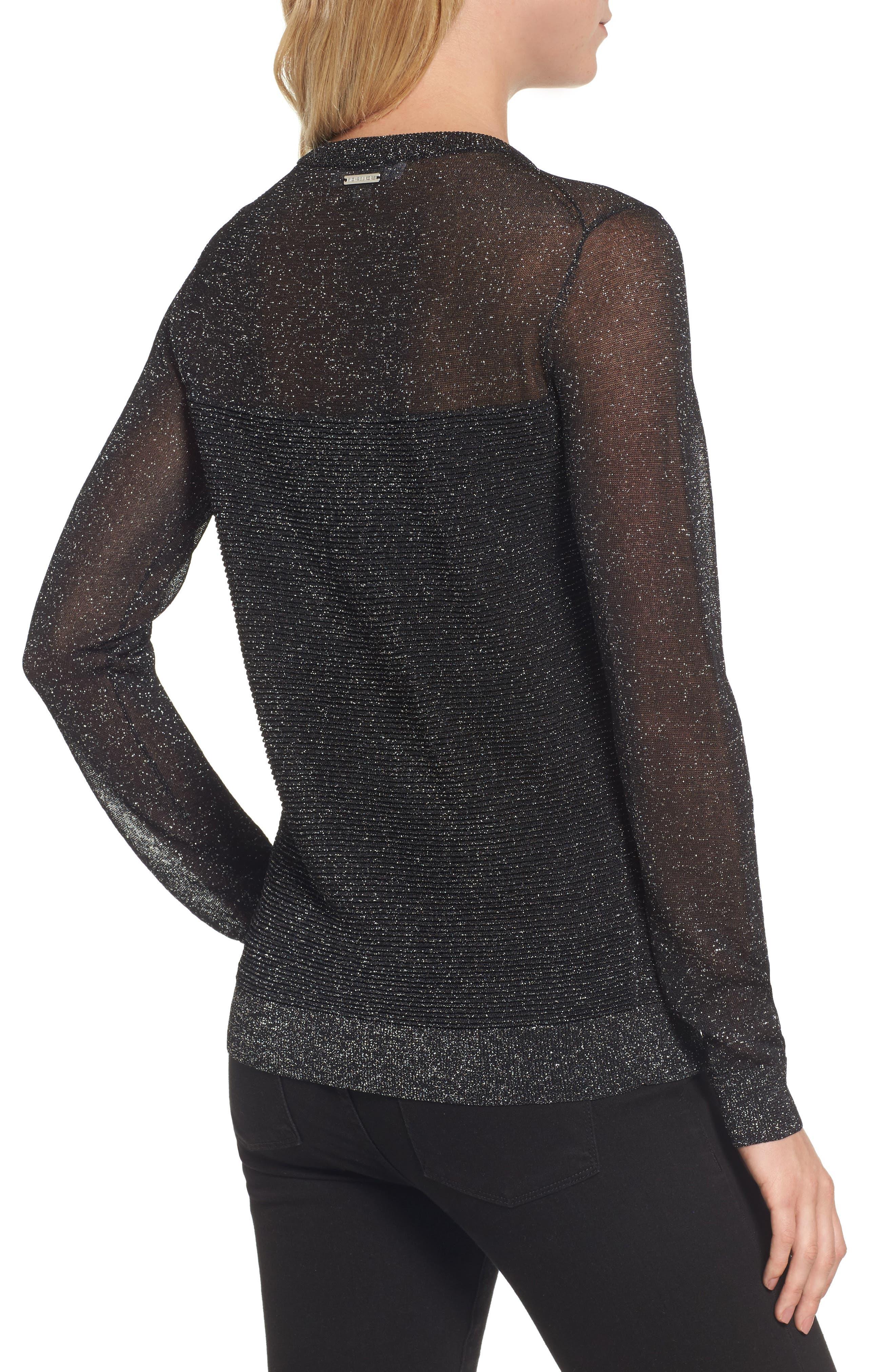 Sheer Metallic Overlay Sweater,                             Alternate thumbnail 2, color,                             001