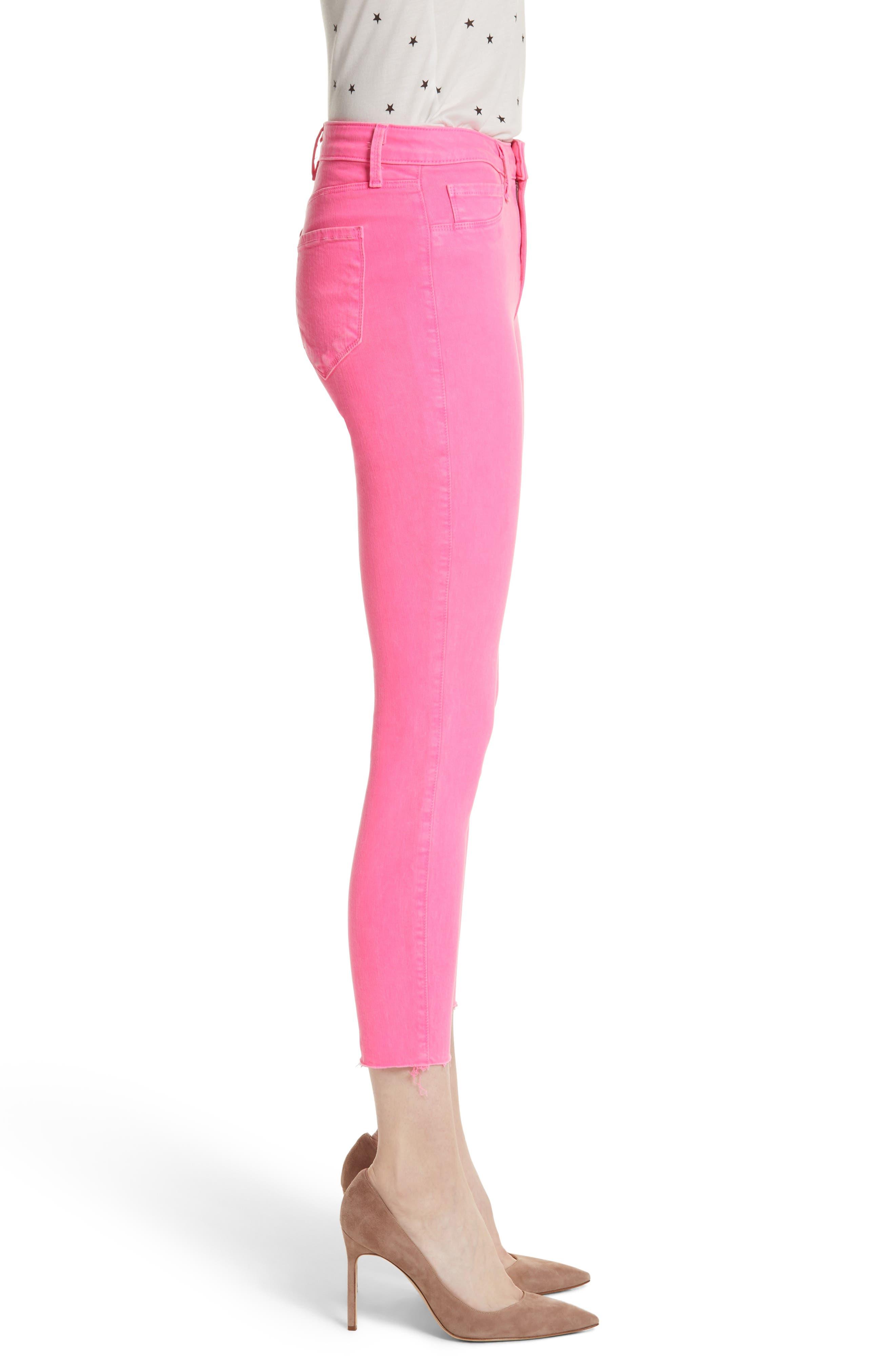 Margot Crop Skinny Jeans,                             Alternate thumbnail 3, color,                             FLAMINGO