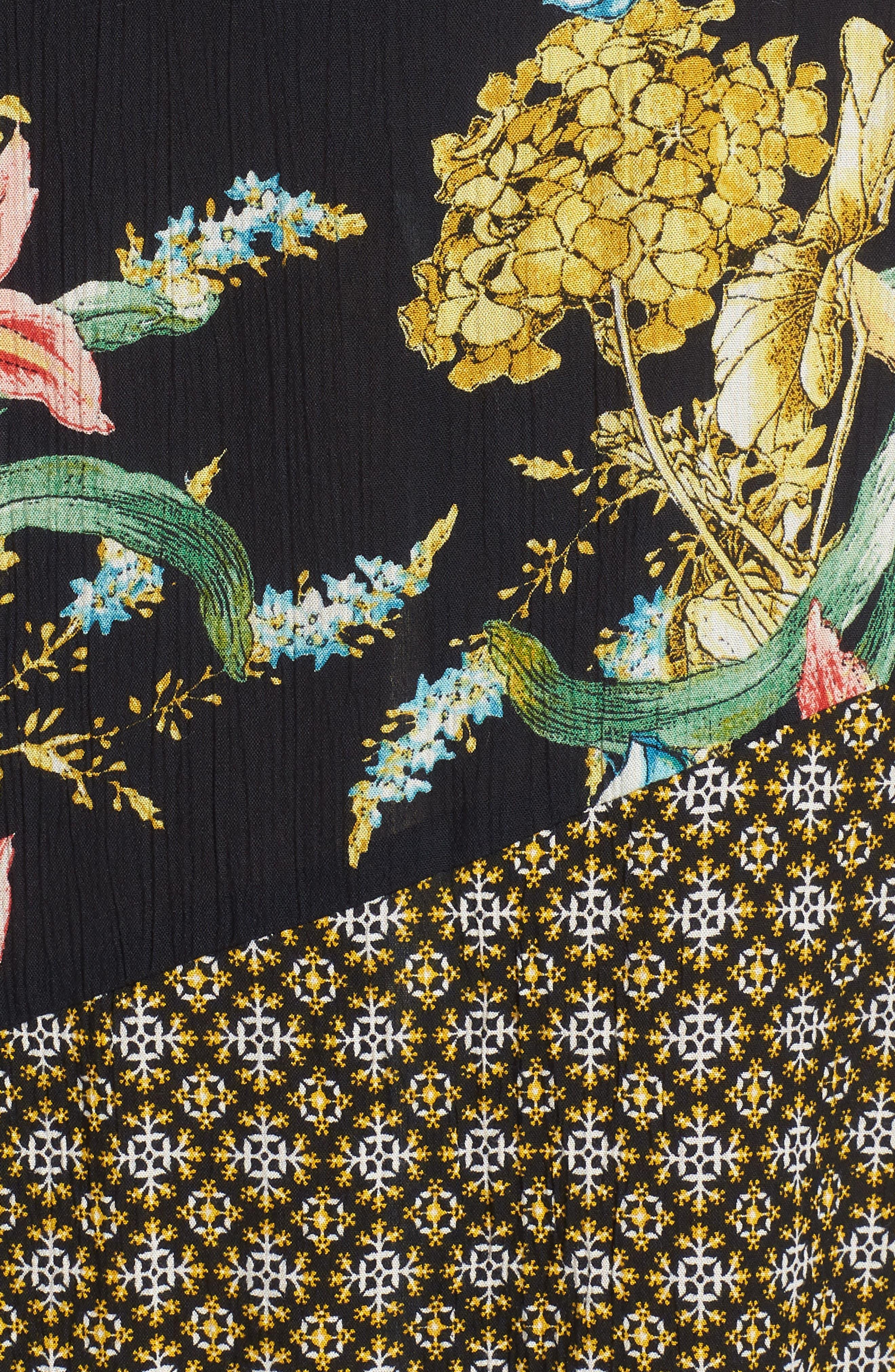 Tropical Mixed Print Maxi Dress,                             Alternate thumbnail 5, color,                             001