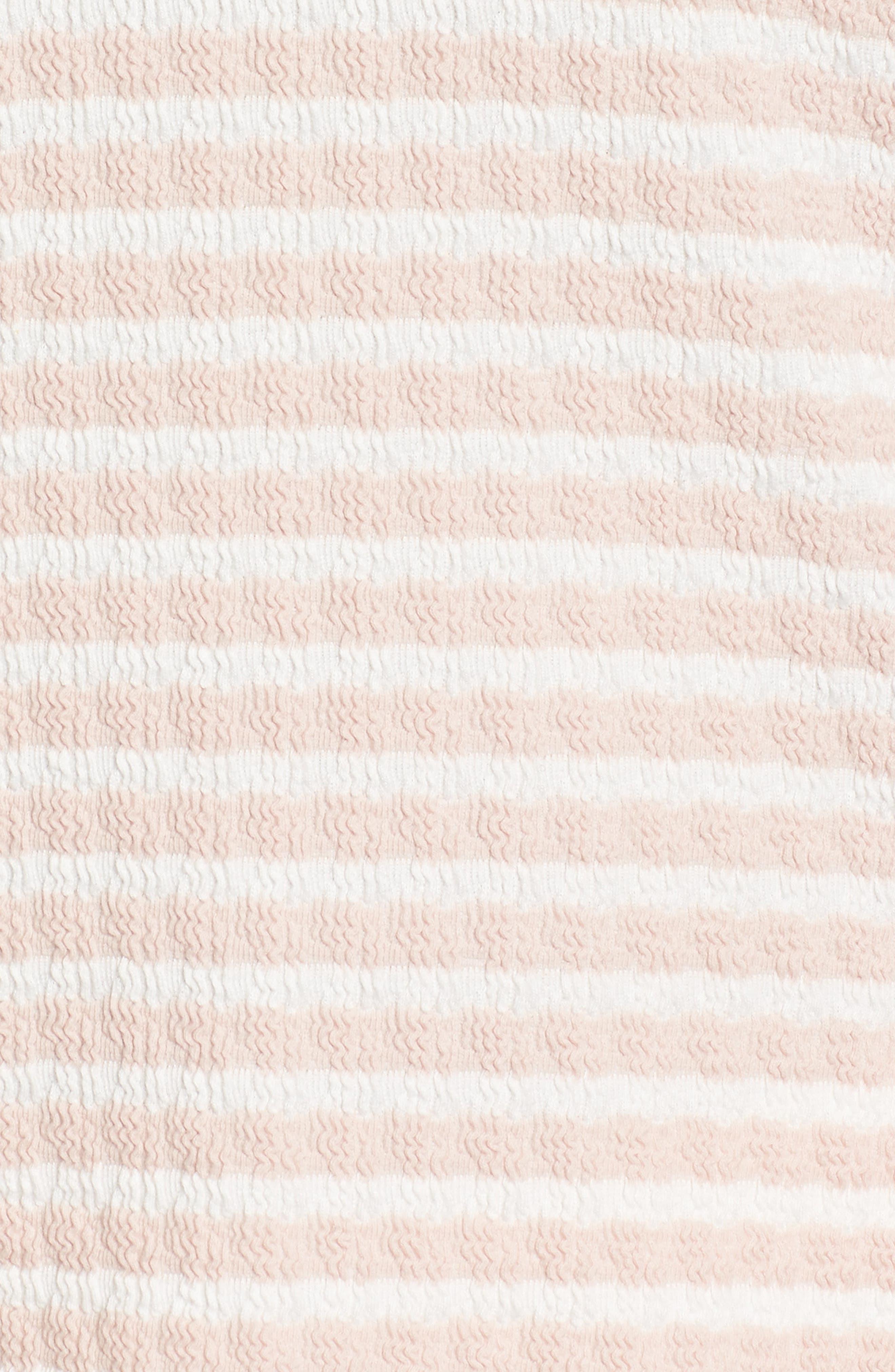 Fridi Texture Stripe Cold Shoulder Top,                             Alternate thumbnail 5, color,                             PINK/ WHITE