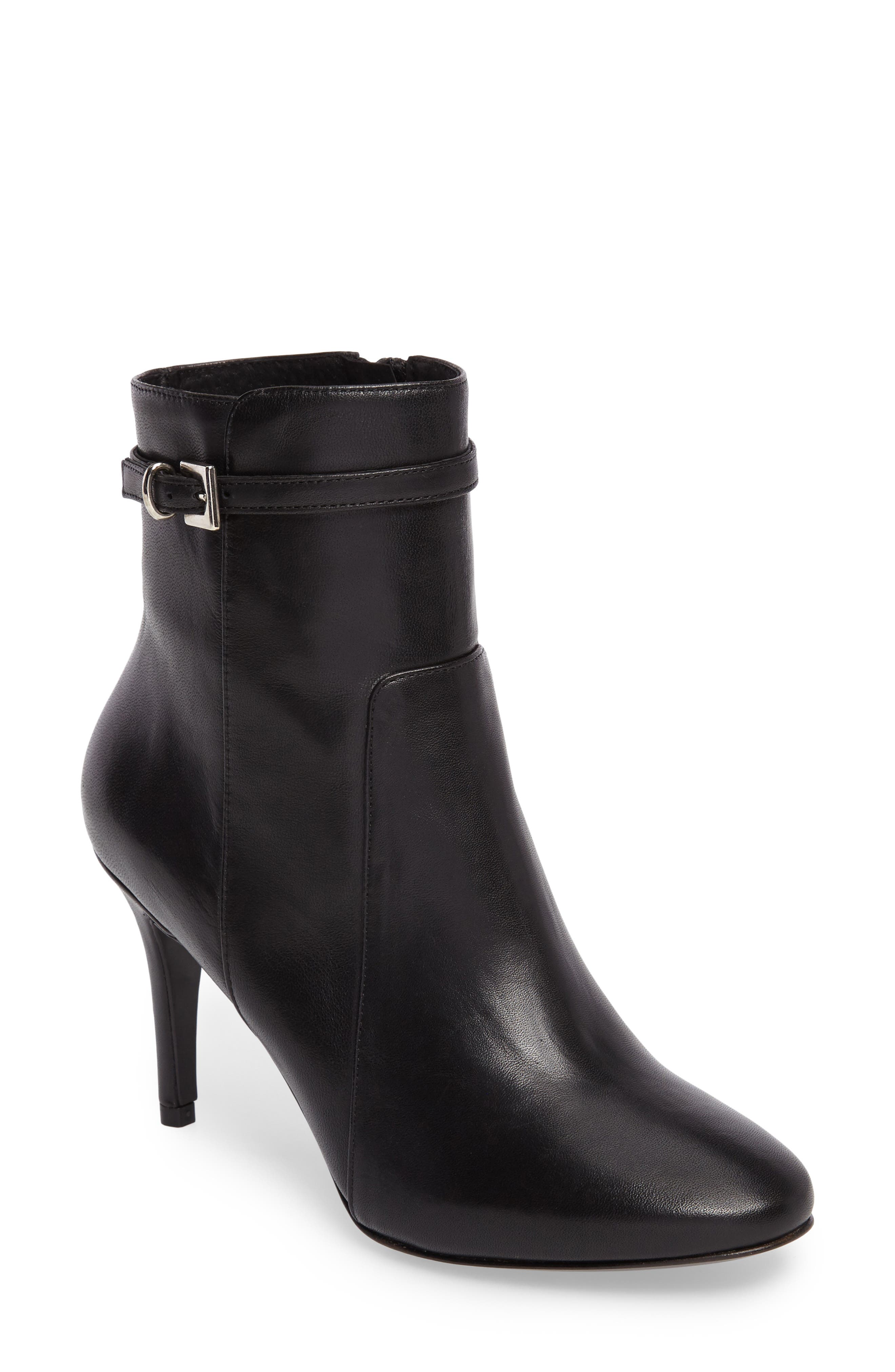 Prism Buckle Strap Bootie,                             Main thumbnail 1, color,                             001