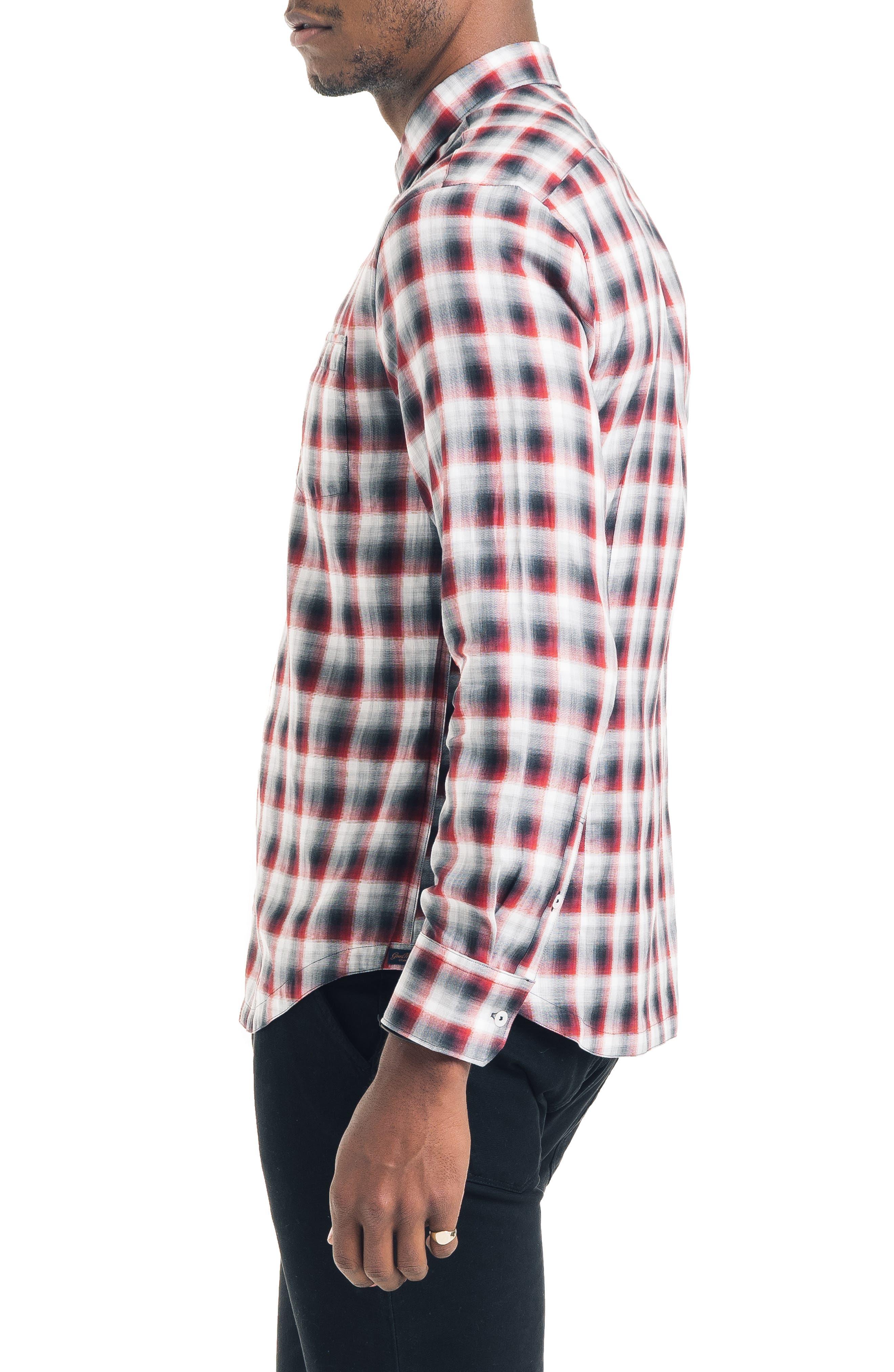 Slim Fit Ombré Plaid Sport Shirt,                             Alternate thumbnail 3, color,                             FIRE