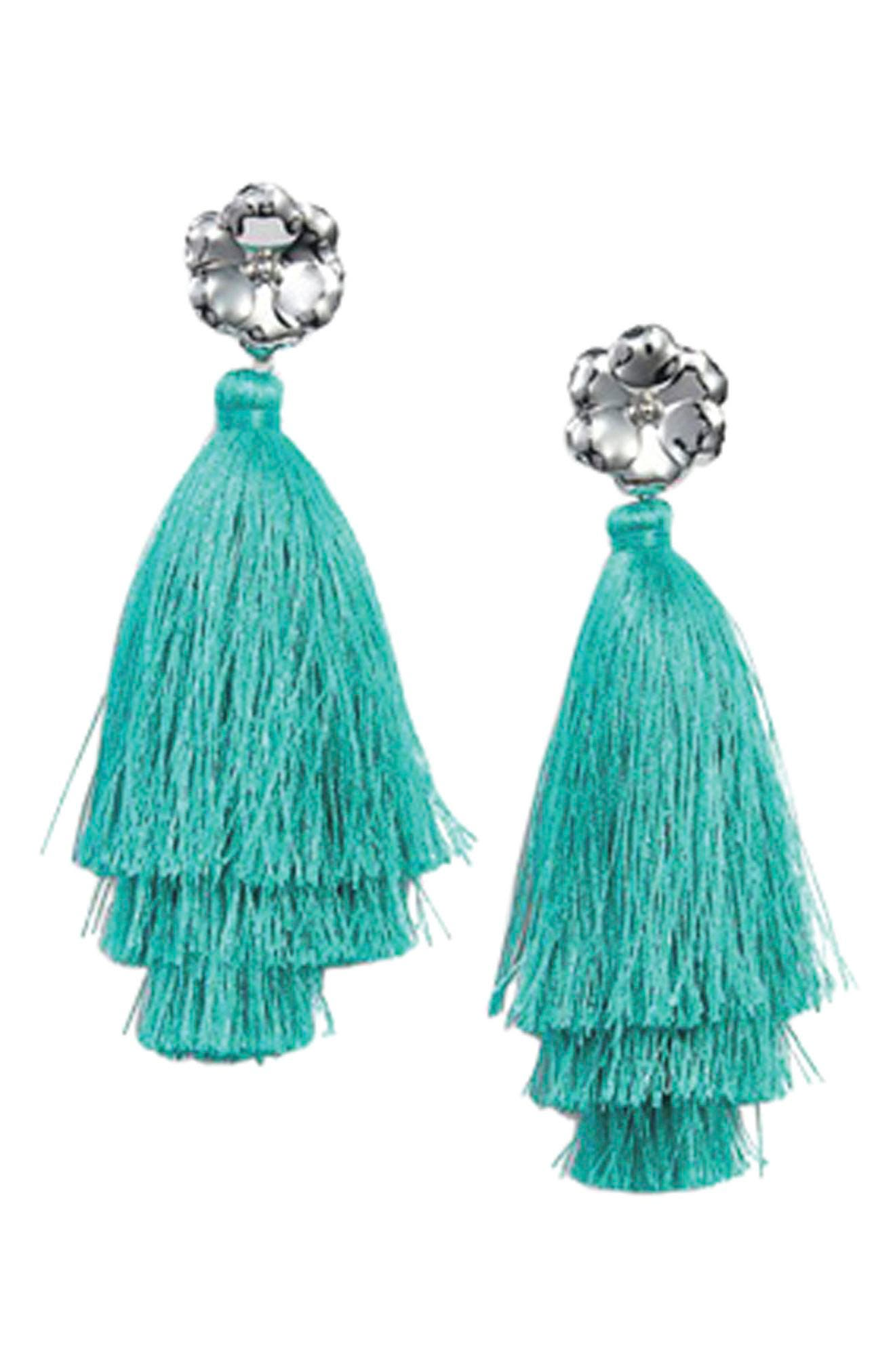 Halogen Floral Tassel Drop Earrings,                             Alternate thumbnail 9, color,