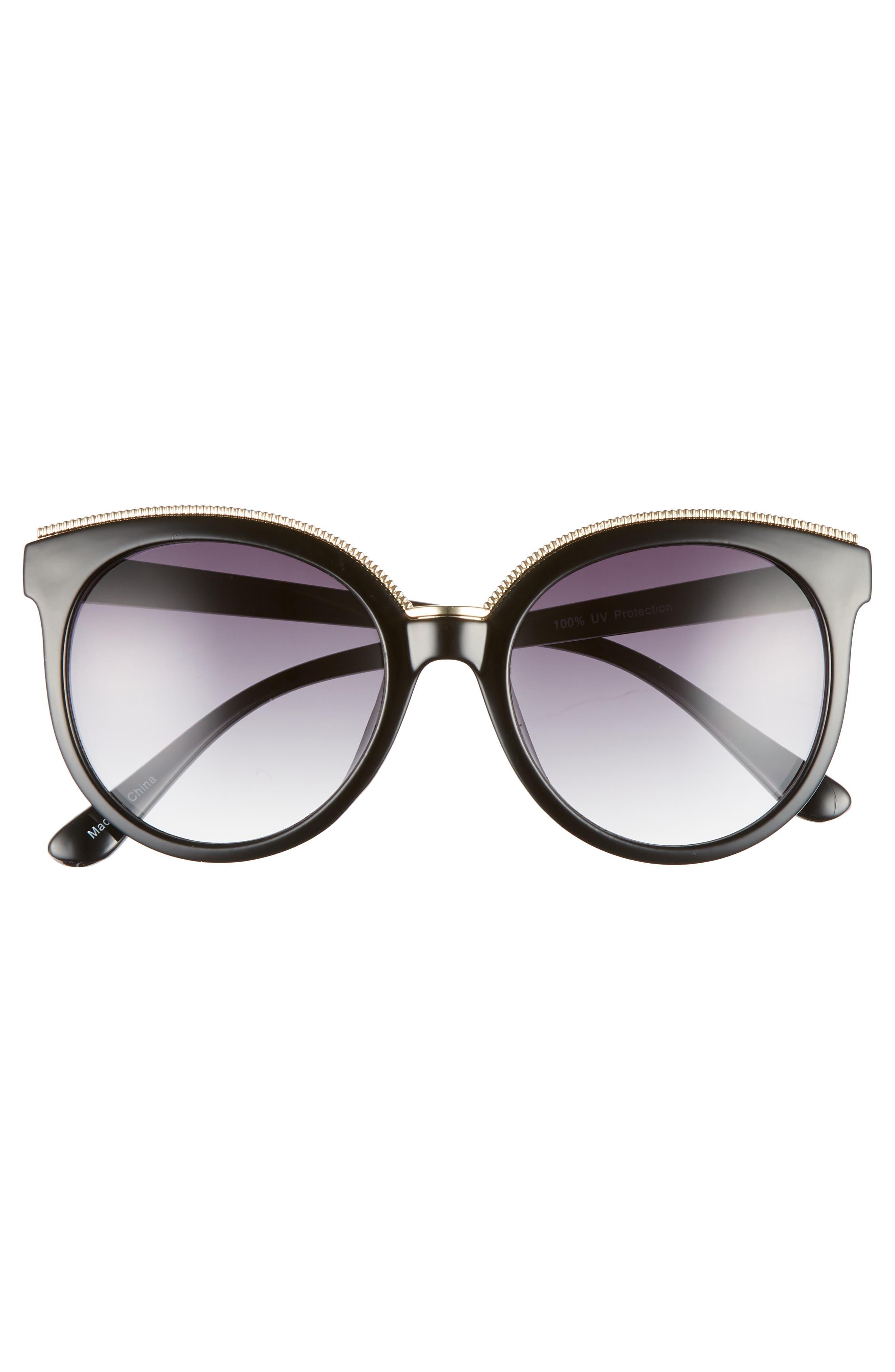 56mm Metal Trim Round Sunglasses,                             Alternate thumbnail 3, color,                             001